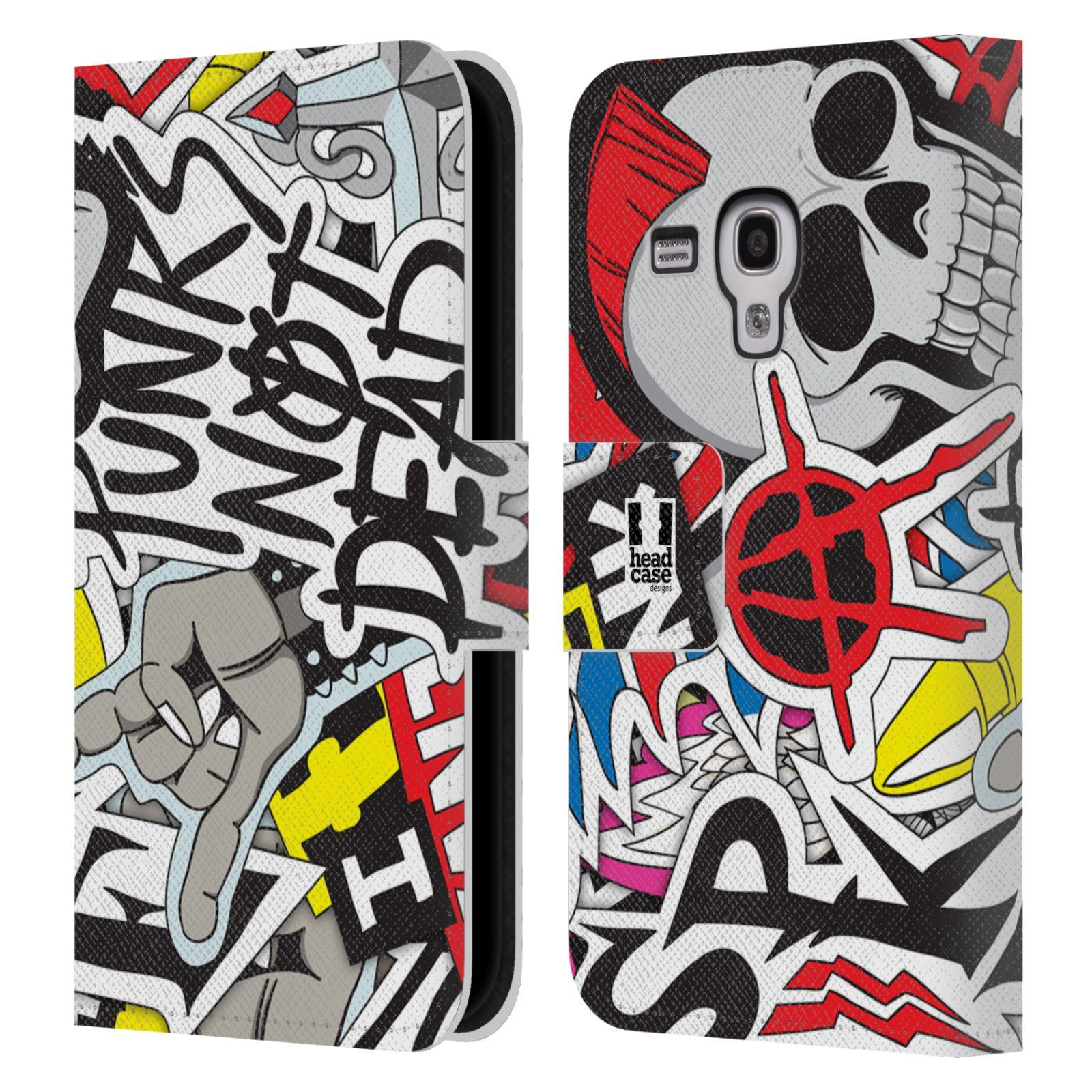 HEAD CASE Flipové pouzdro pro mobil Samsung Galaxy S3 MINI vzor STICKER nálepky PUNK IS NOT DEAD