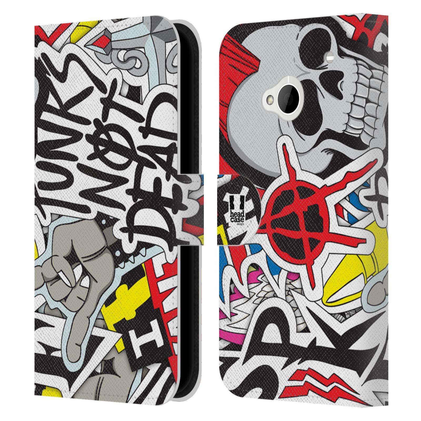 HEAD CASE Flipové pouzdro pro mobil HTC ONE (M7) vzor STICKER nálepky PUNK IS NOT DEAD