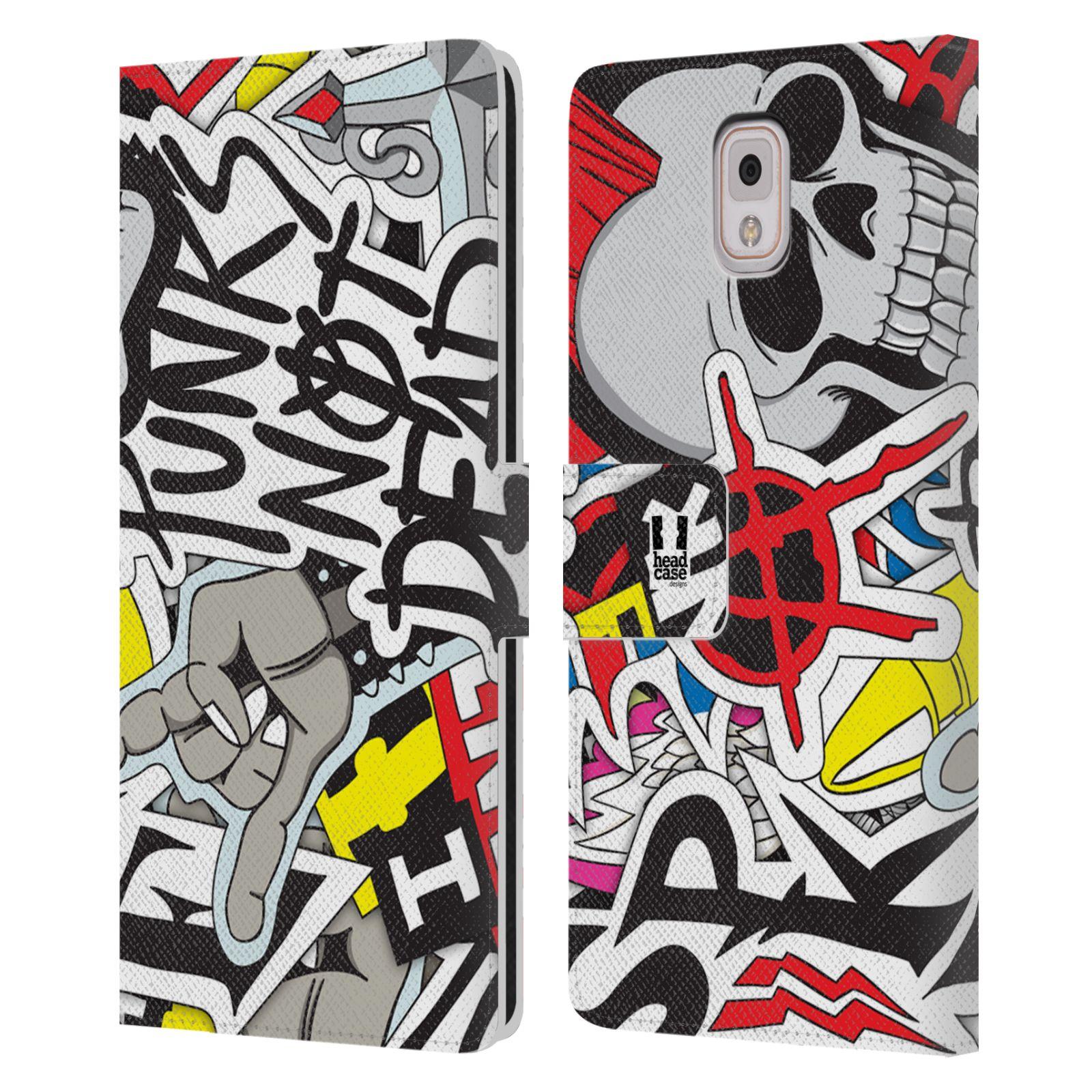 HEAD CASE Flipové pouzdro pro mobil Samsung Galaxy Note 3 N9005 vzor STICKER nálepky PUNK IS NOT DEAD