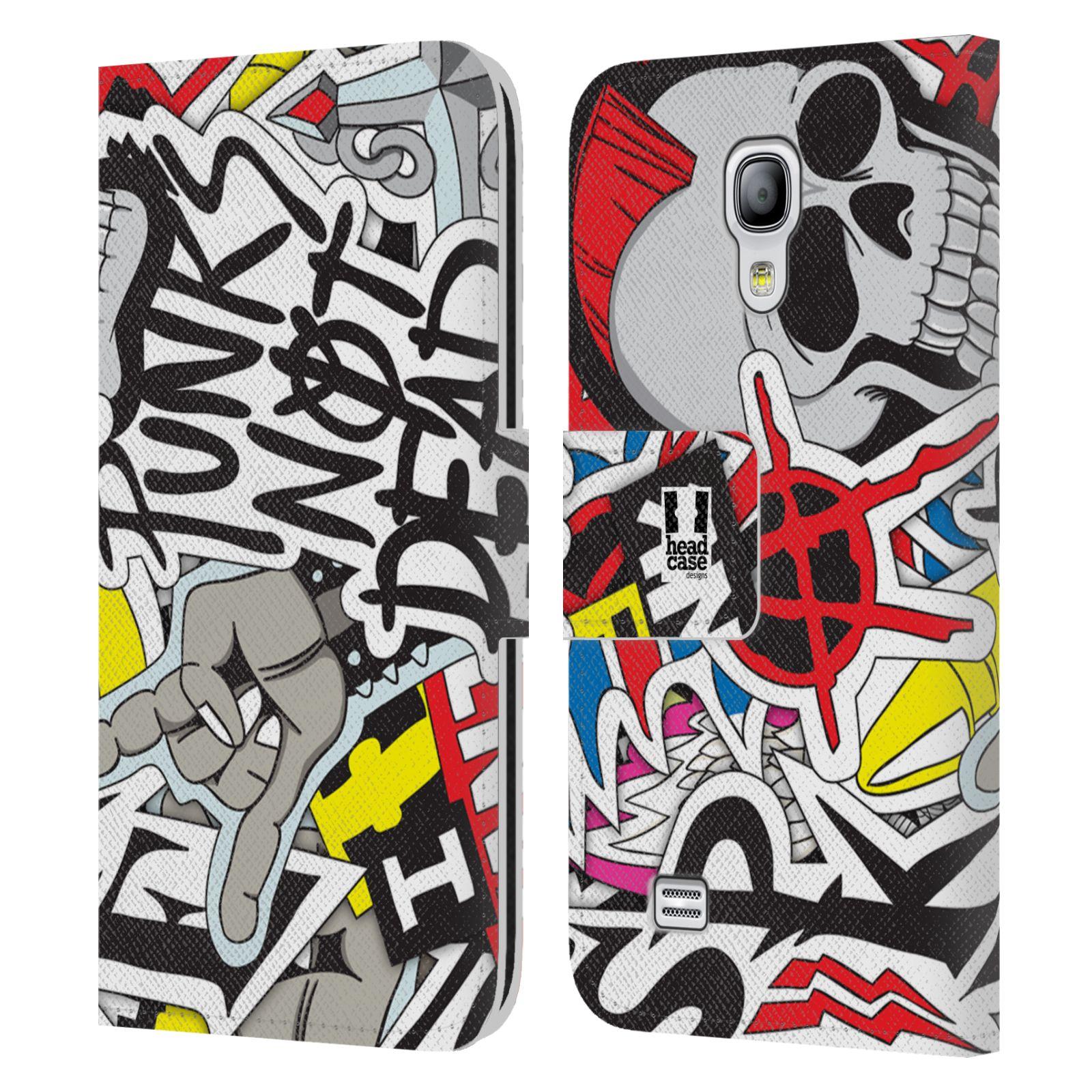 HEAD CASE Flipové pouzdro pro mobil Samsung Galaxy S4 MINI / S4 MINI DUOS vzor STICKER nálepky PUNK IS NOT DEAD