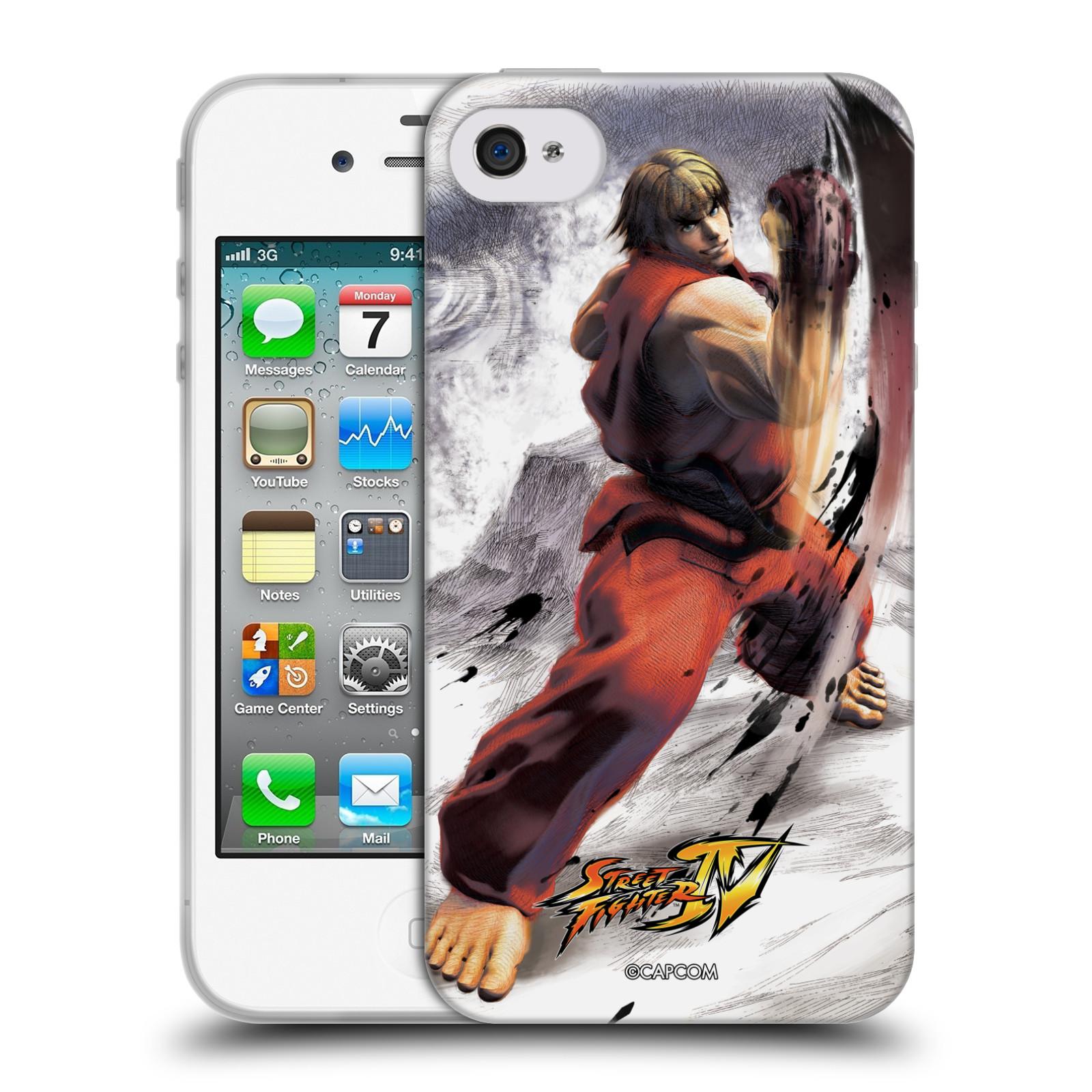 HEAD CASE silikonový obal na mobil Apple Iphone 4/4S oficiální kryt STREET FIGHTER bojovník Ken kresba
