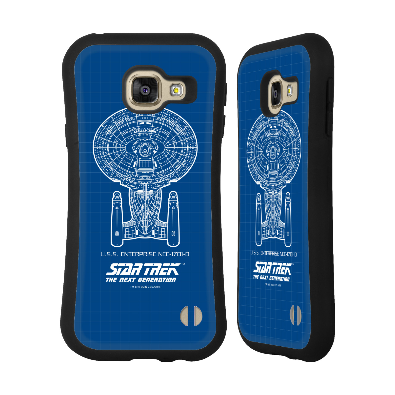 HEAD CASE silikon/plast odolný obal na mobil Samsung Galaxy A3 2016 (A310F) Star Trek vesmírná loď nákres USS Enterprise NCC-1701-D modrá