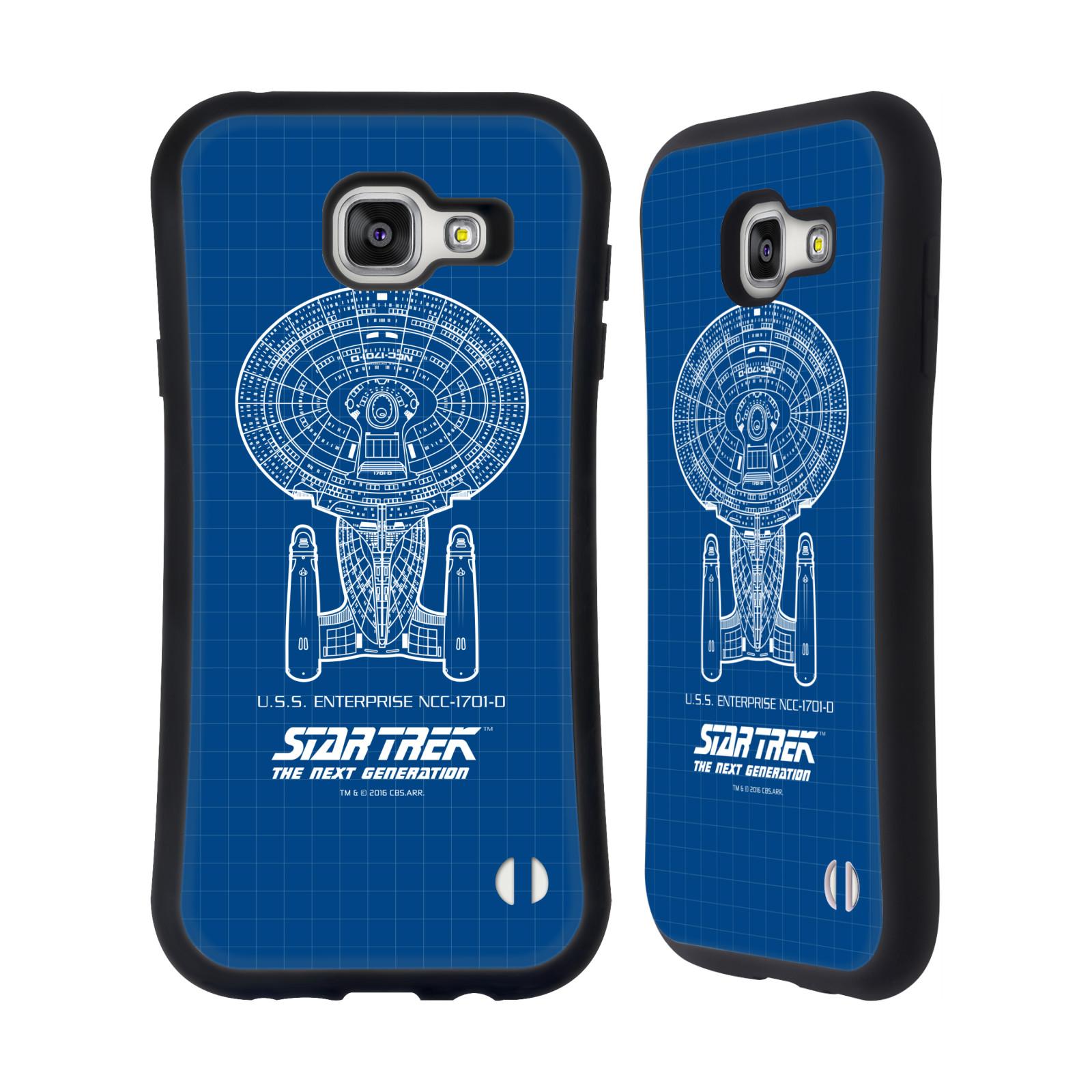 HEAD CASE silikon/plast odolný obal na mobil Samsung Galaxy A7 2016 (A710F) Star Trek vesmírná loď nákres USS Enterprise NCC-1701-D modrá