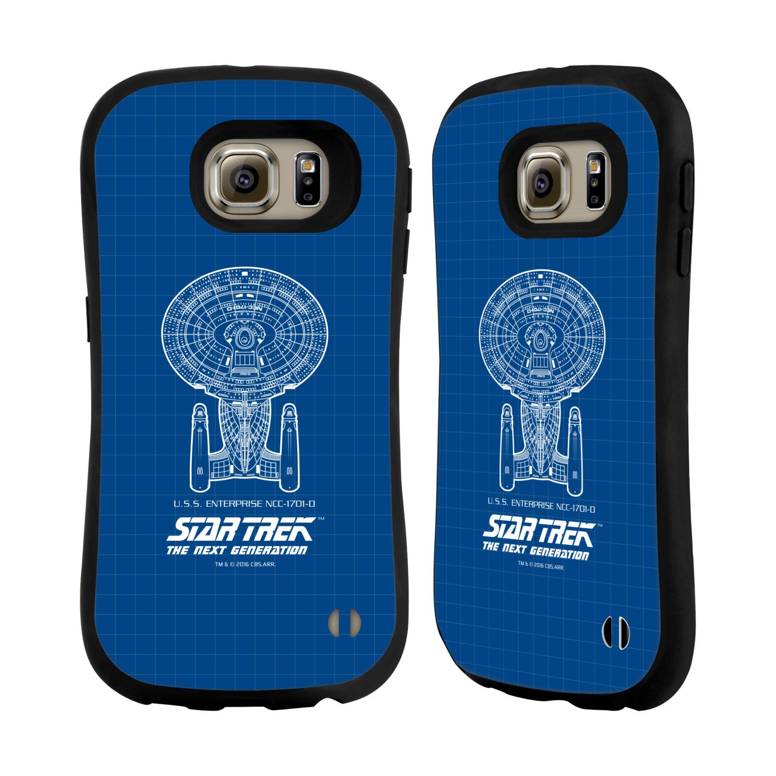 HEAD CASE silikon/plast odolný obal na mobil Samsung Galaxy S6 (G920F) Star Trek vesmírná loď nákres USS Enterprise NCC-1701-D modrá