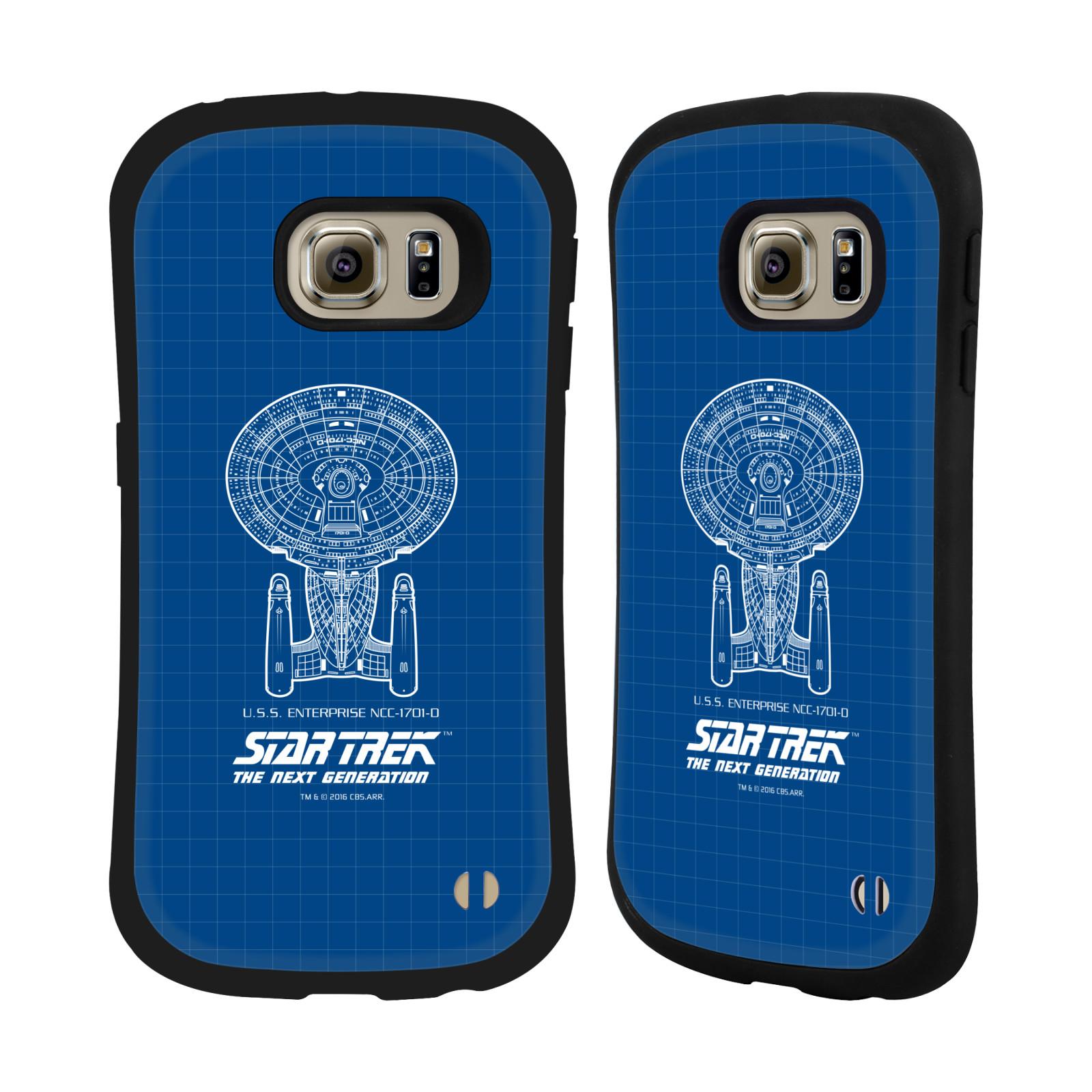HEAD CASE silikon/plast odolný obal na mobil Samsung Galaxy S6 EDGE (G925) Star Trek vesmírná loď nákres USS Enterprise NCC-1701-D modrá