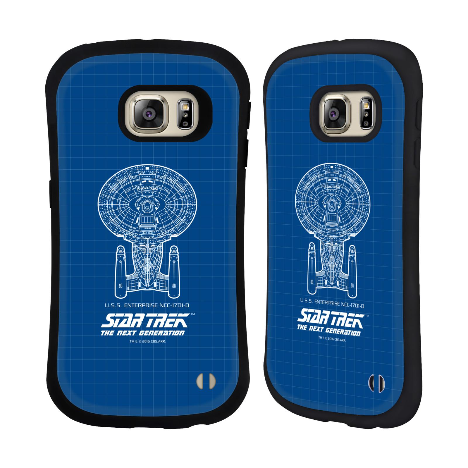 HEAD CASE silikon/plast odolný obal na mobil Samsung Galaxy S6 EDGE+ (PLUS) G928F Star Trek vesmírná loď nákres USS Enterprise NCC-1701-D modrá