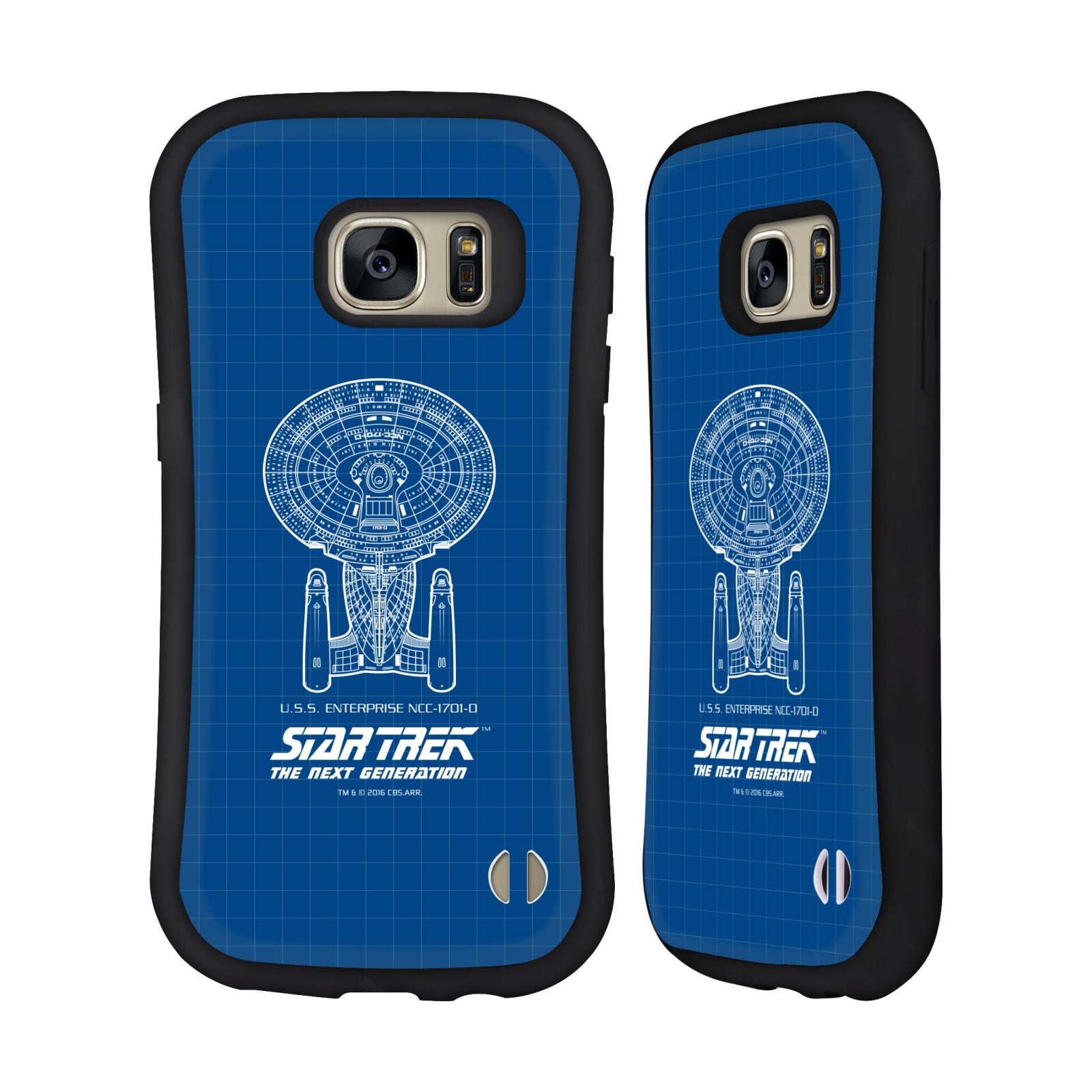 HEAD CASE silikon/plast odolný obal na mobil Samsung Galaxy S7 (G930F) Star Trek vesmírná loď nákres USS Enterprise NCC-1701-D modrá