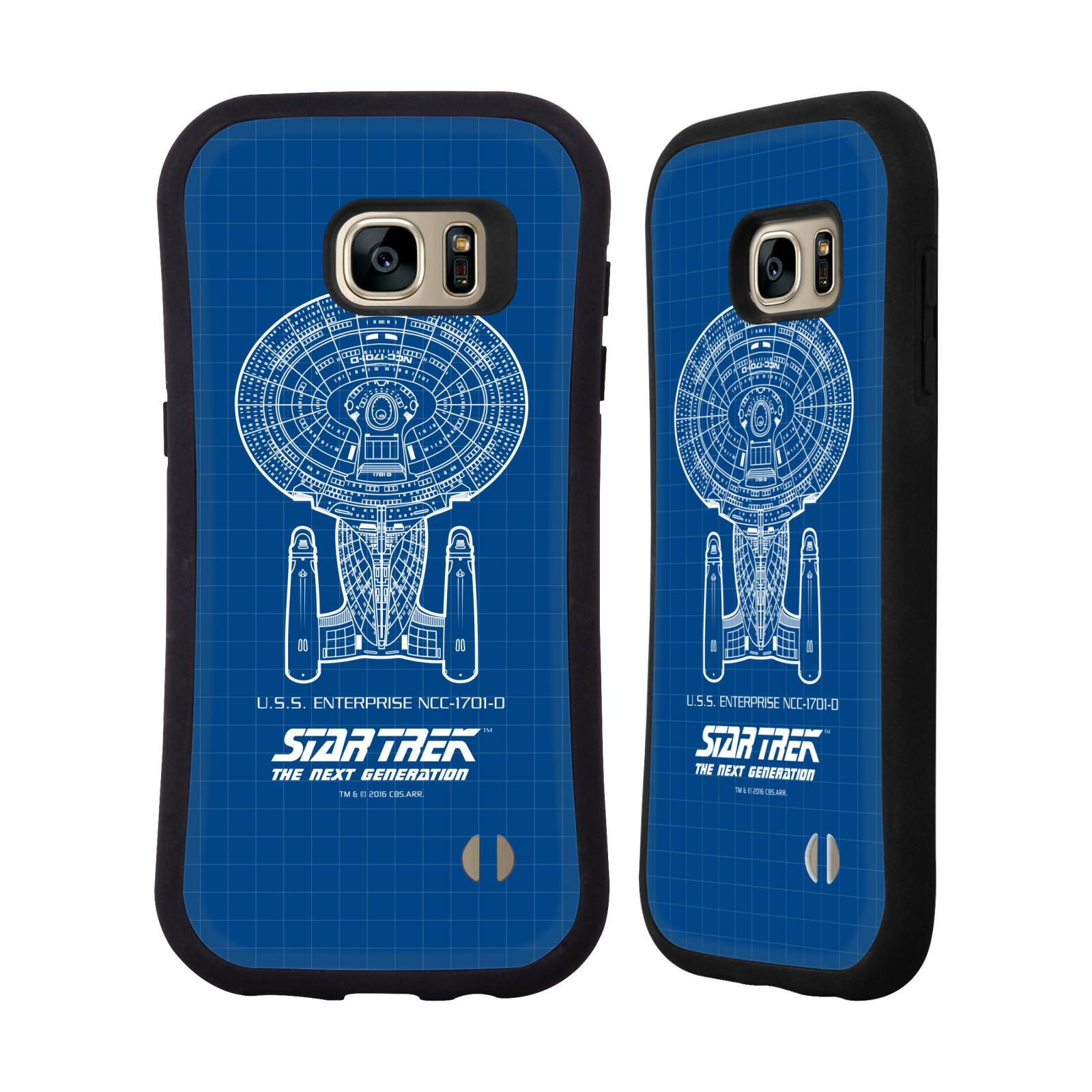 HEAD CASE silikon/plast odolný obal na mobil Samsung Galaxy S7 EDGE (G935F) Star Trek vesmírná loď nákres USS Enterprise NCC-1701-D modrá