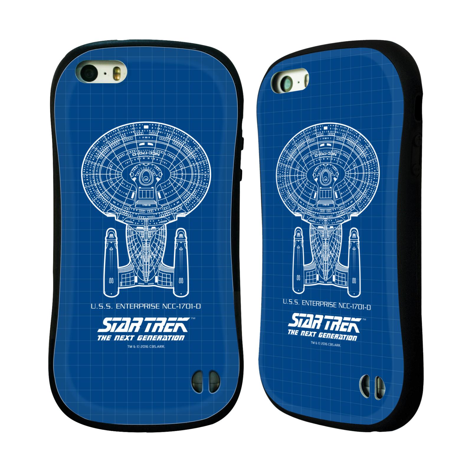 HEAD CASE silikon/plast odolný obal na mobil Apple Iphone 5 / 5S Star Trek vesmírná loď nákres USS Enterprise NCC-1701-D modrá