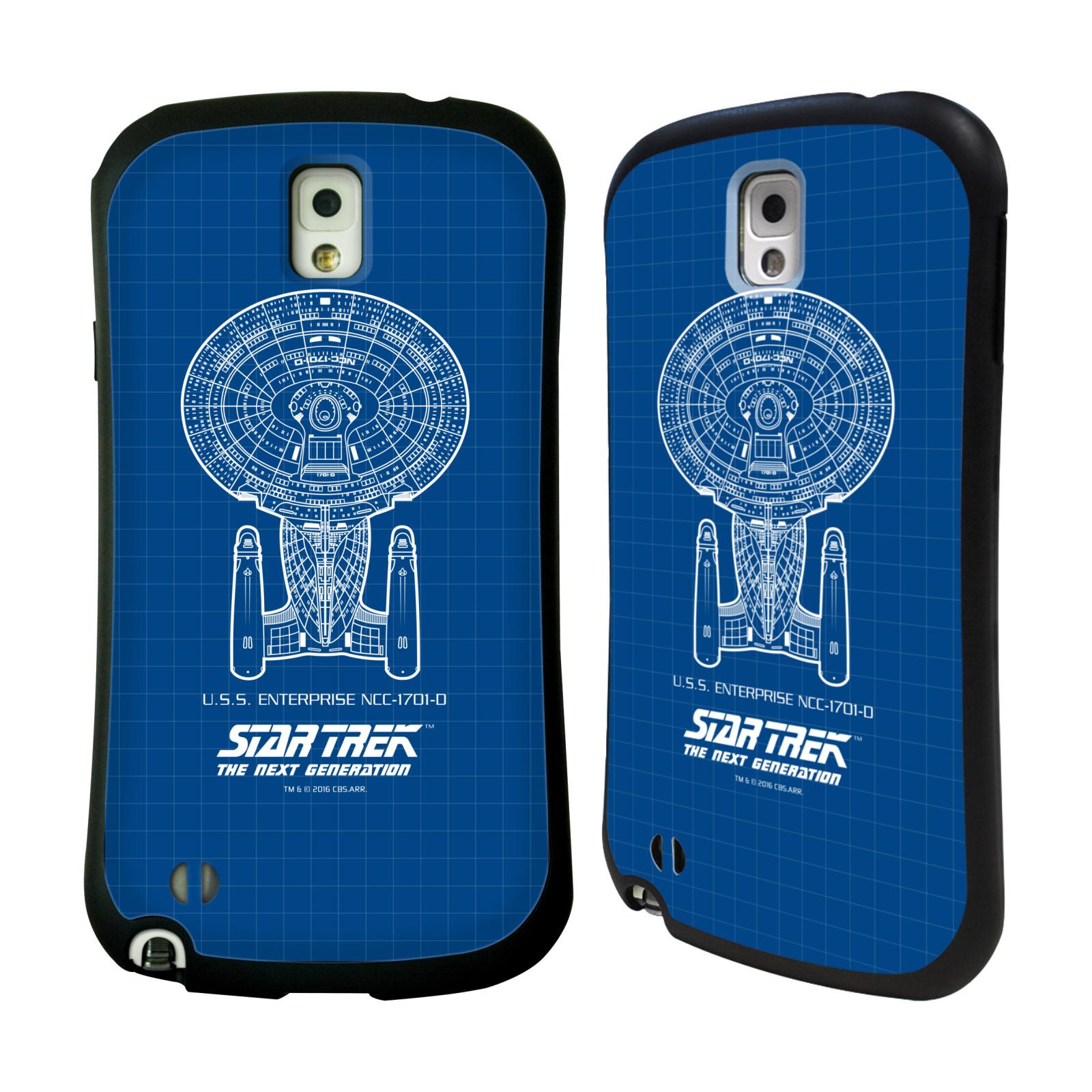 HEAD CASE silikon/plast odolný obal na mobil Samsung Galaxy NOTE 3 (N9005) Star Trek vesmírná loď nákres USS Enterprise NCC-1701-D modrá