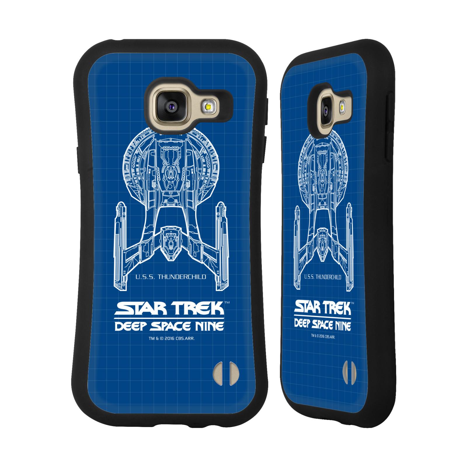HEAD CASE silikon/plast odolný obal na mobil Samsung Galaxy A3 2016 (A310F) Star Trek vesmírná loď nákres DS9 modrá