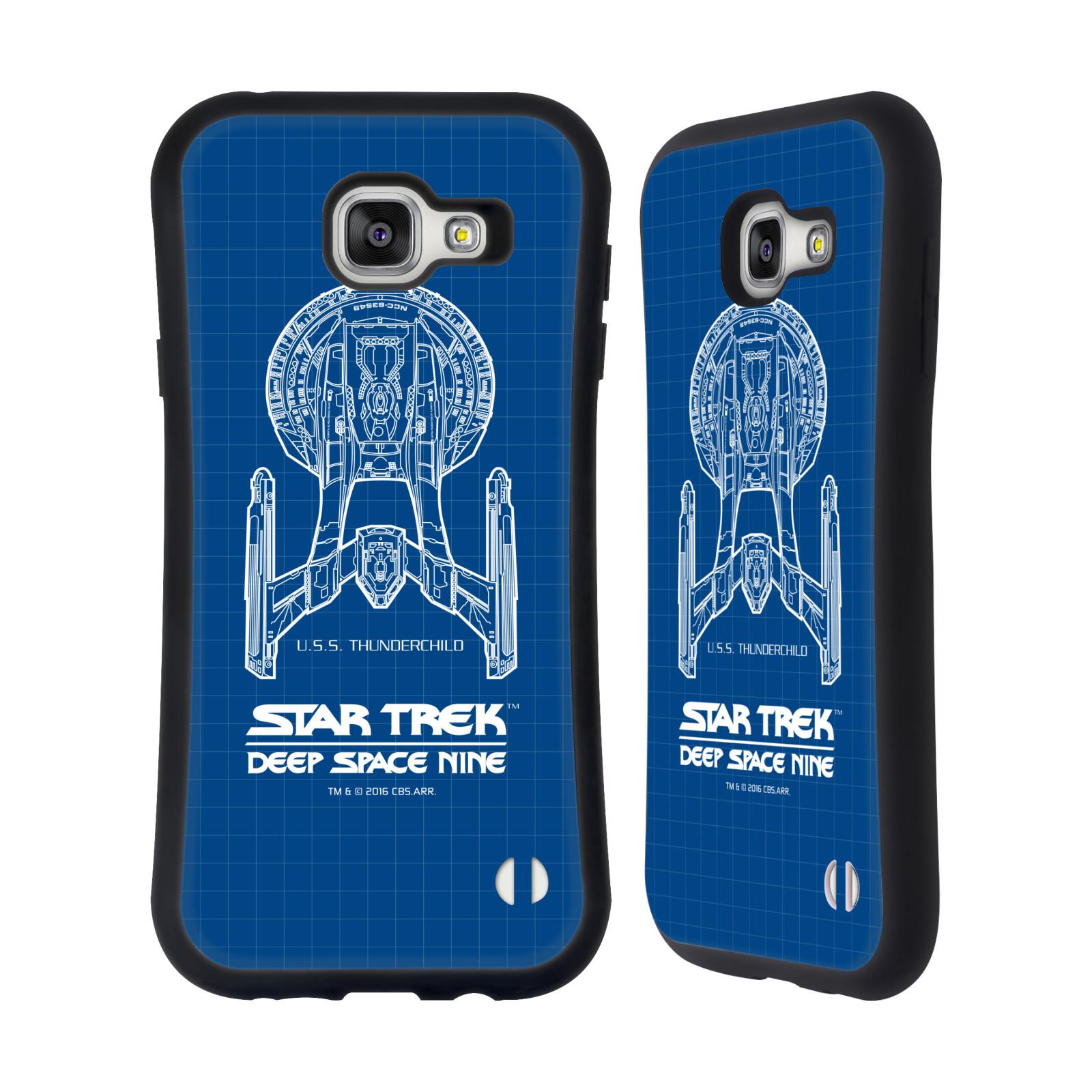HEAD CASE silikon/plast odolný obal na mobil Samsung Galaxy A7 2016 (A710F) Star Trek vesmírná loď nákres DS9 modrá