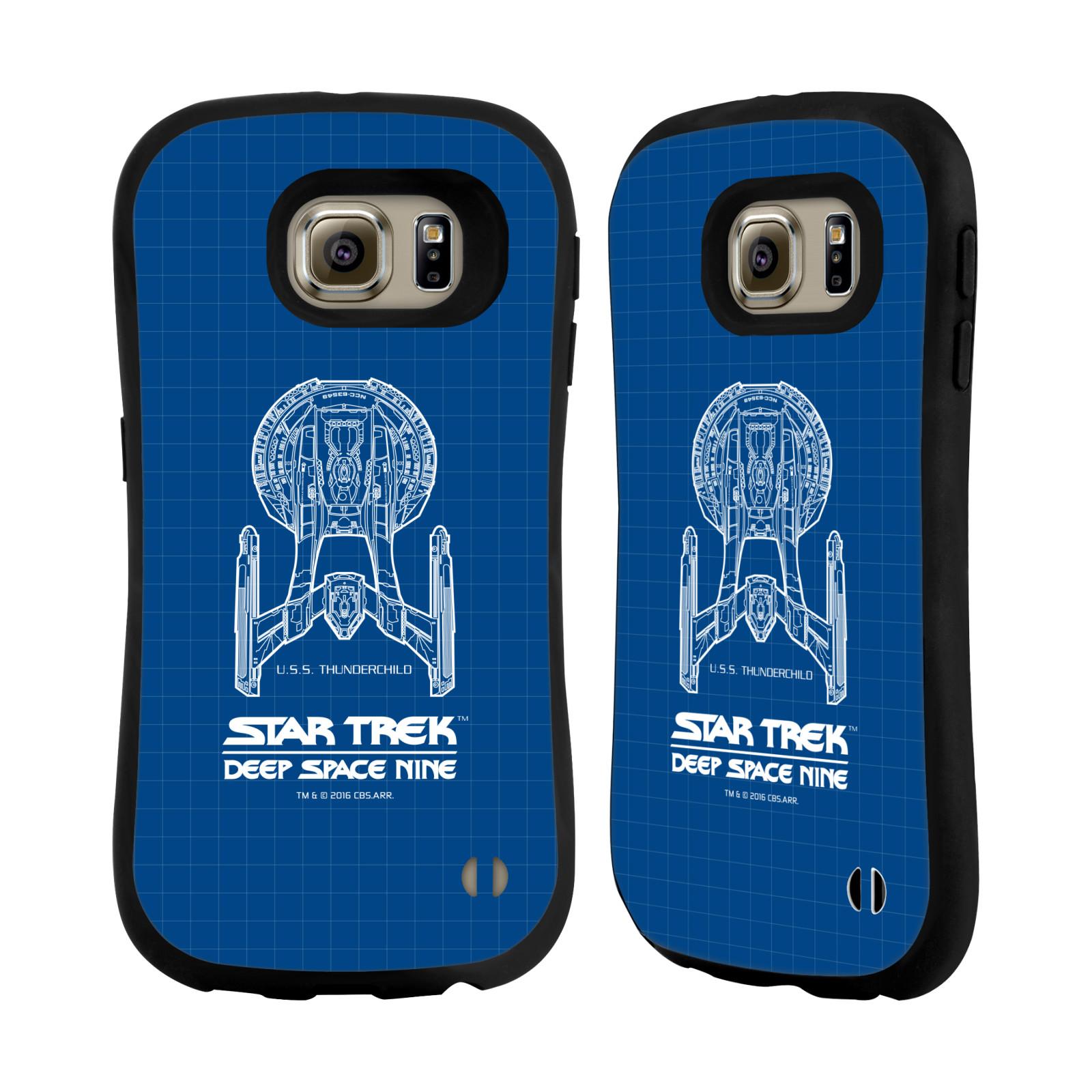 HEAD CASE silikon/plast odolný obal na mobil Samsung Galaxy S6 (G920F) Star Trek vesmírná loď nákres DS9 modrá