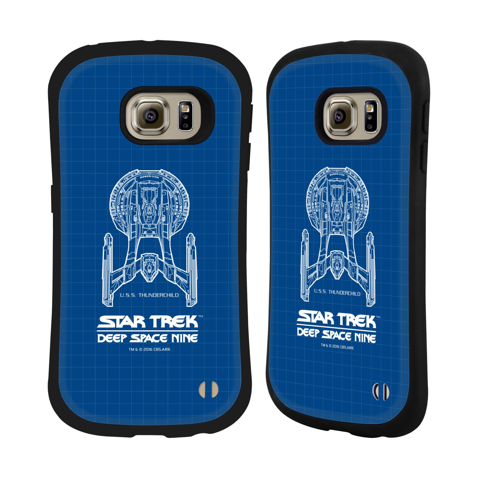 HEAD CASE silikon/plast odolný obal na mobil Samsung Galaxy S6 EDGE (G925) Star Trek vesmírná loď nákres DS9 modrá