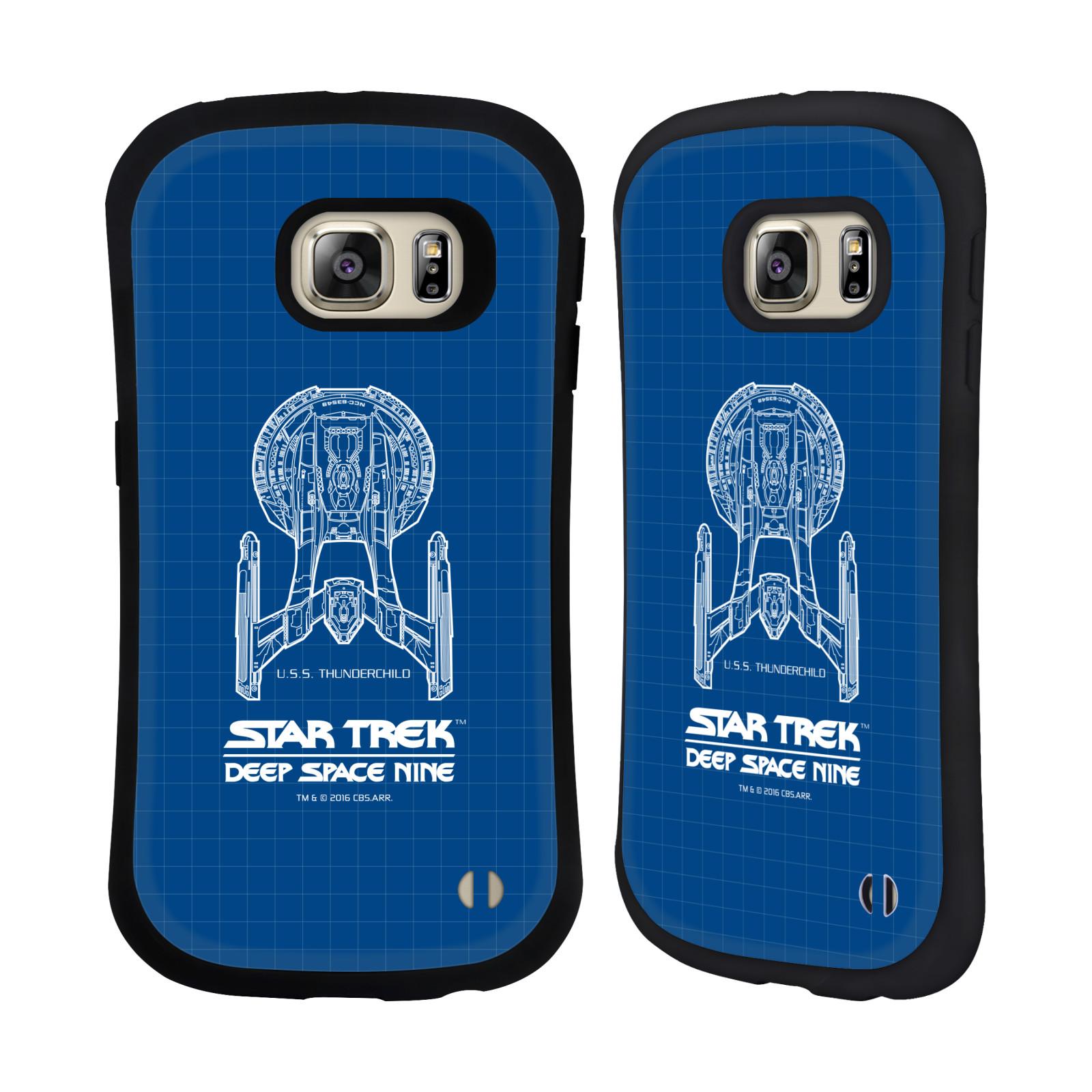 HEAD CASE silikon/plast odolný obal na mobil Samsung Galaxy S6 EDGE+ (PLUS) G928F Star Trek vesmírná loď nákres DS9 modrá