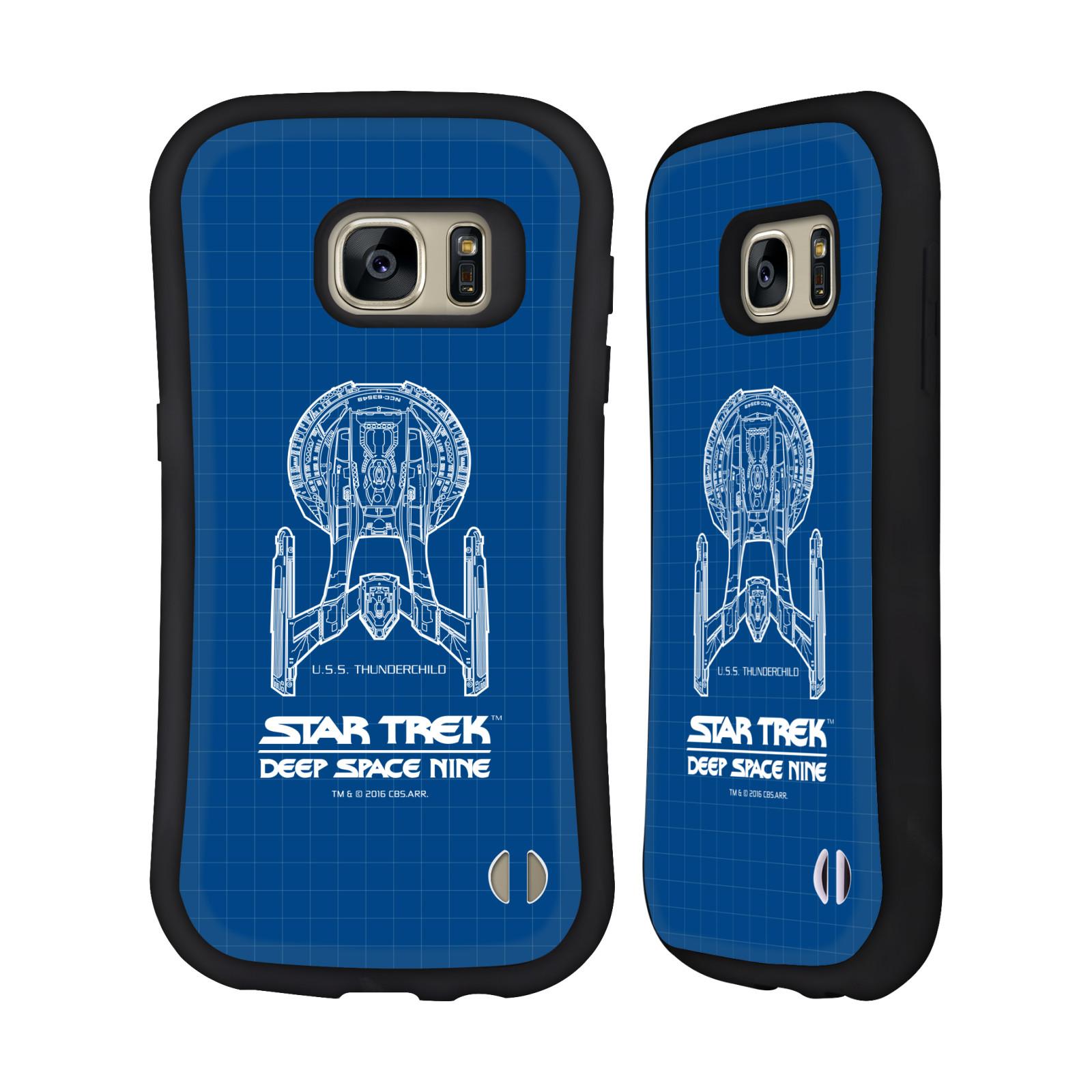 HEAD CASE silikon/plast odolný obal na mobil Samsung Galaxy S7 (G930F) Star Trek vesmírná loď nákres DS9 modrá