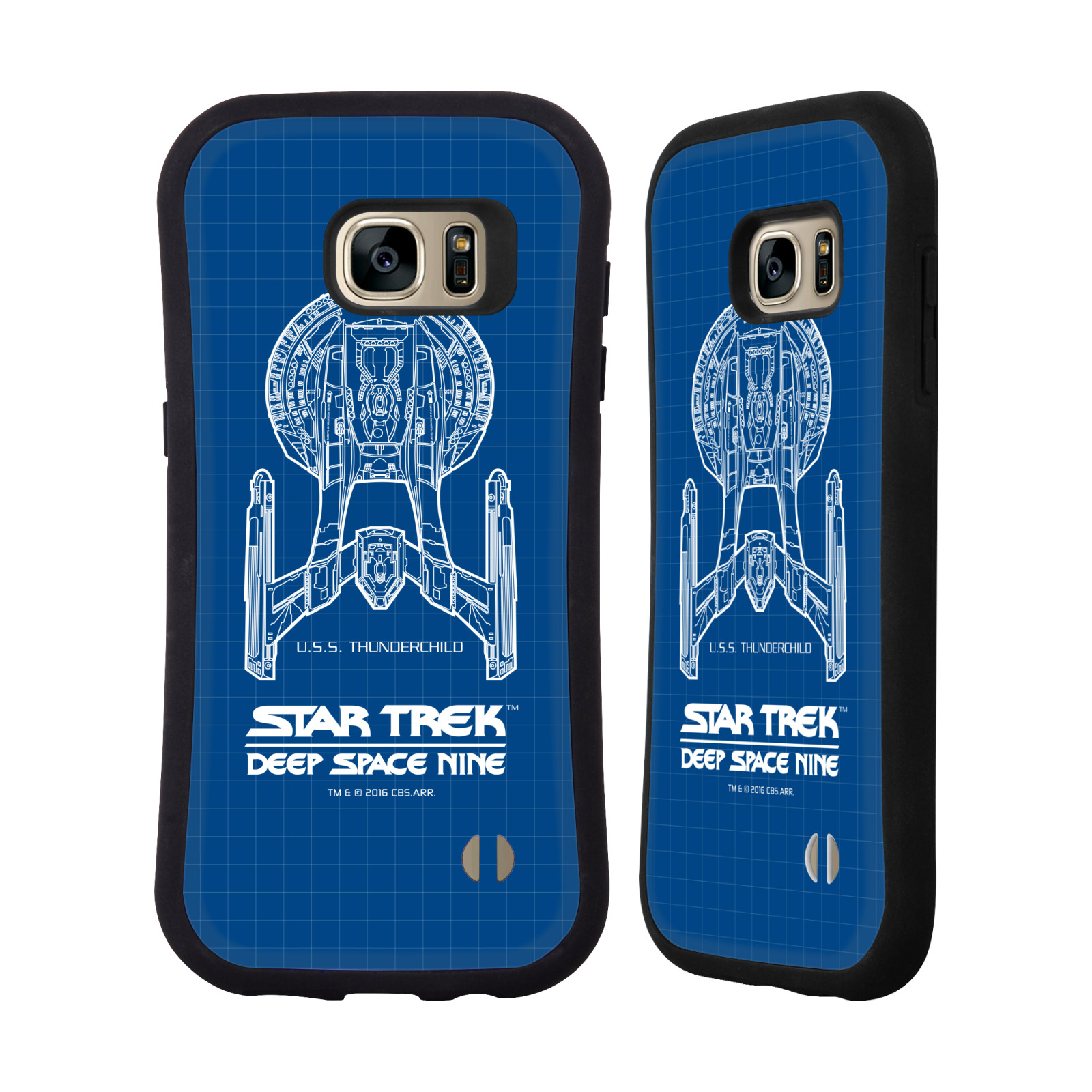 HEAD CASE silikon/plast odolný obal na mobil Samsung Galaxy S7 EDGE (G935F) Star Trek vesmírná loď nákres DS9 modrá