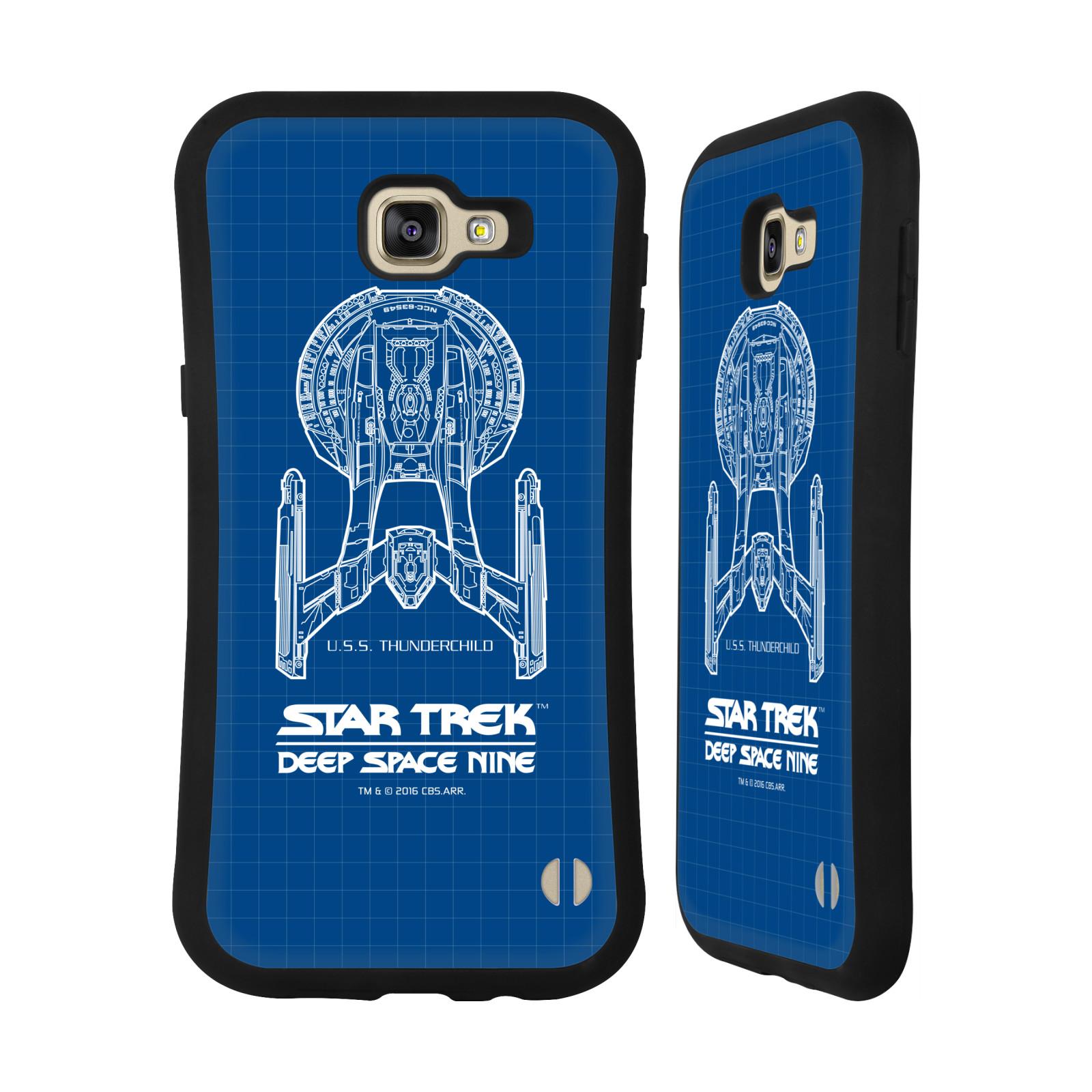 HEAD CASE silikon/plast odolný obal na mobil Samsung Galaxy A9 2016 Star Trek vesmírná loď nákres DS9 modrá