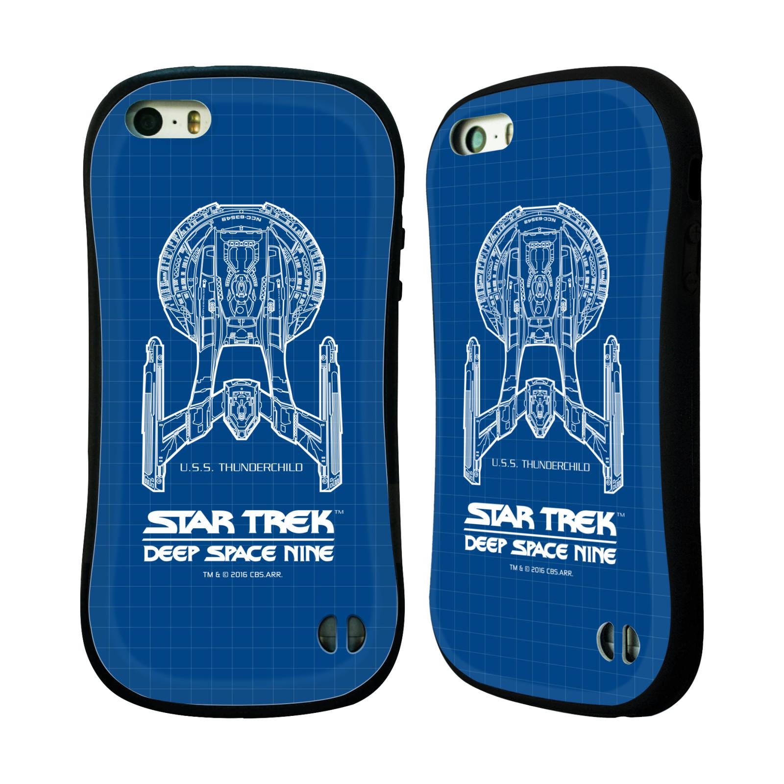 HEAD CASE silikon/plast odolný obal na mobil Apple Iphone 5 / 5S Star Trek vesmírná loď nákres DS9 modrá