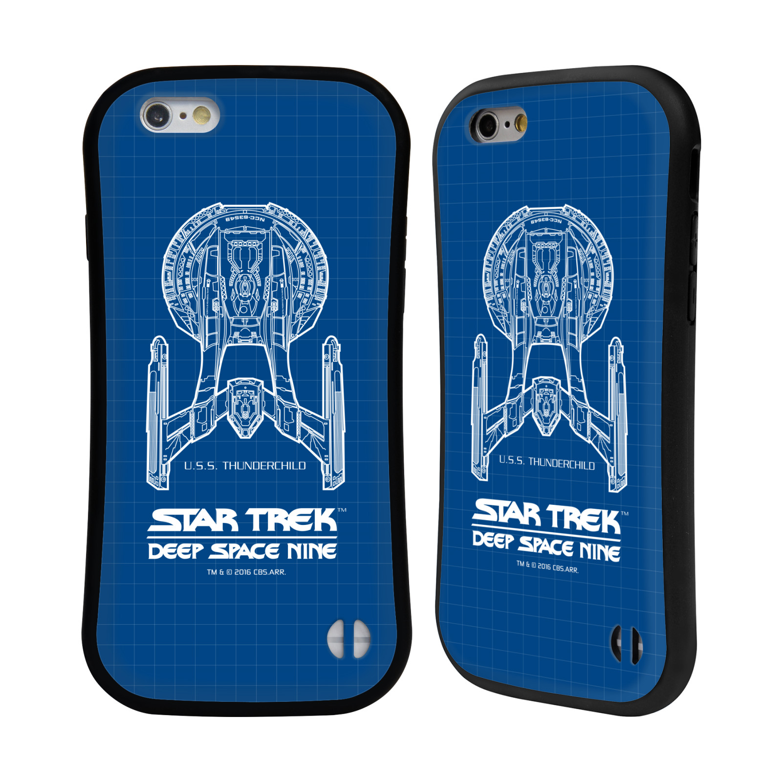 HEAD CASE silikon/plast odolný obal na mobil Apple Iphone 6/6S Star Trek vesmírná loď nákres DS9 modrá