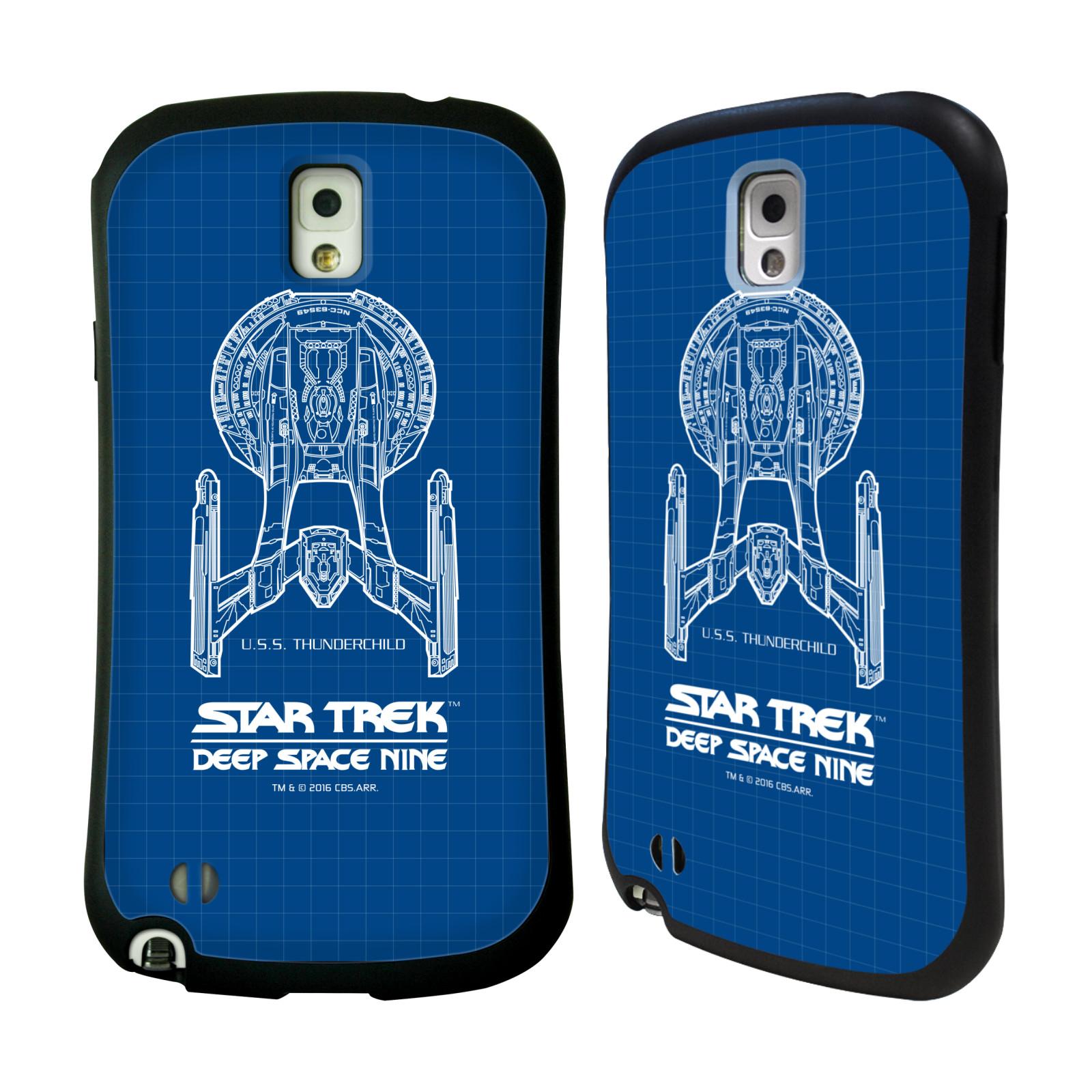 HEAD CASE silikon/plast odolný obal na mobil Samsung Galaxy NOTE 3 (N9005) Star Trek vesmírná loď nákres DS9 modrá
