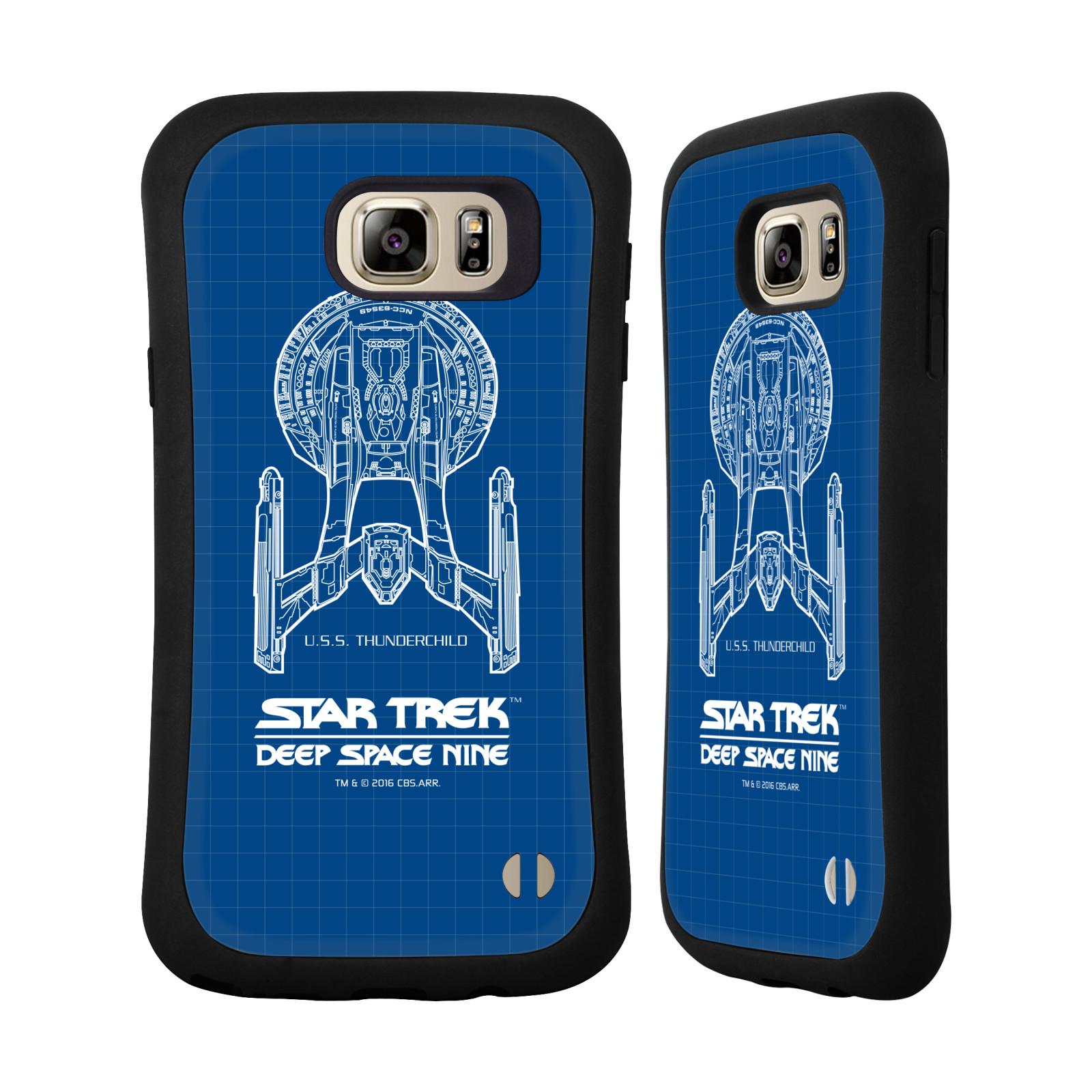 HEAD CASE silikon/plast odolný obal na mobil Samsung Galaxy NOTE 5 Star Trek vesmírná loď nákres DS9 modrá