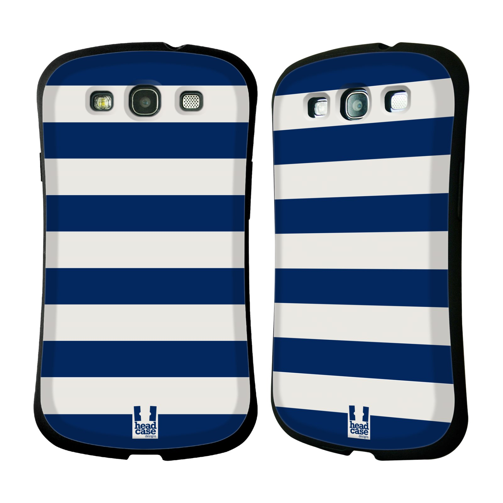 HEAD CASE silikon/plast odolný obal na mobil Samsung Galaxy S3 vzor Barevné proužky MODRÁ A BÍLÁ NÁMOŘNÍK