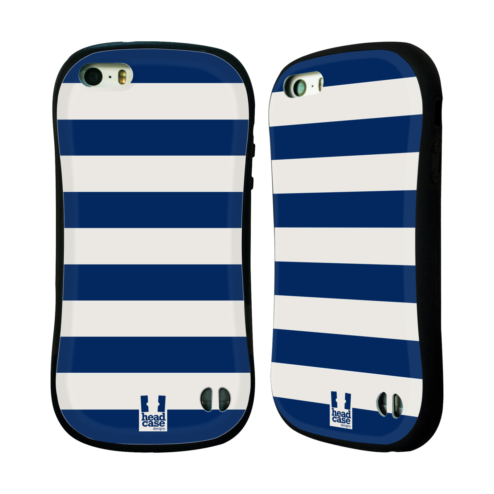 HEAD CASE silikon/plast odolný obal na mobil Apple Iphone 5/5S vzor Barevné proužky MODRÁ A BÍLÁ NÁMOŘNÍK