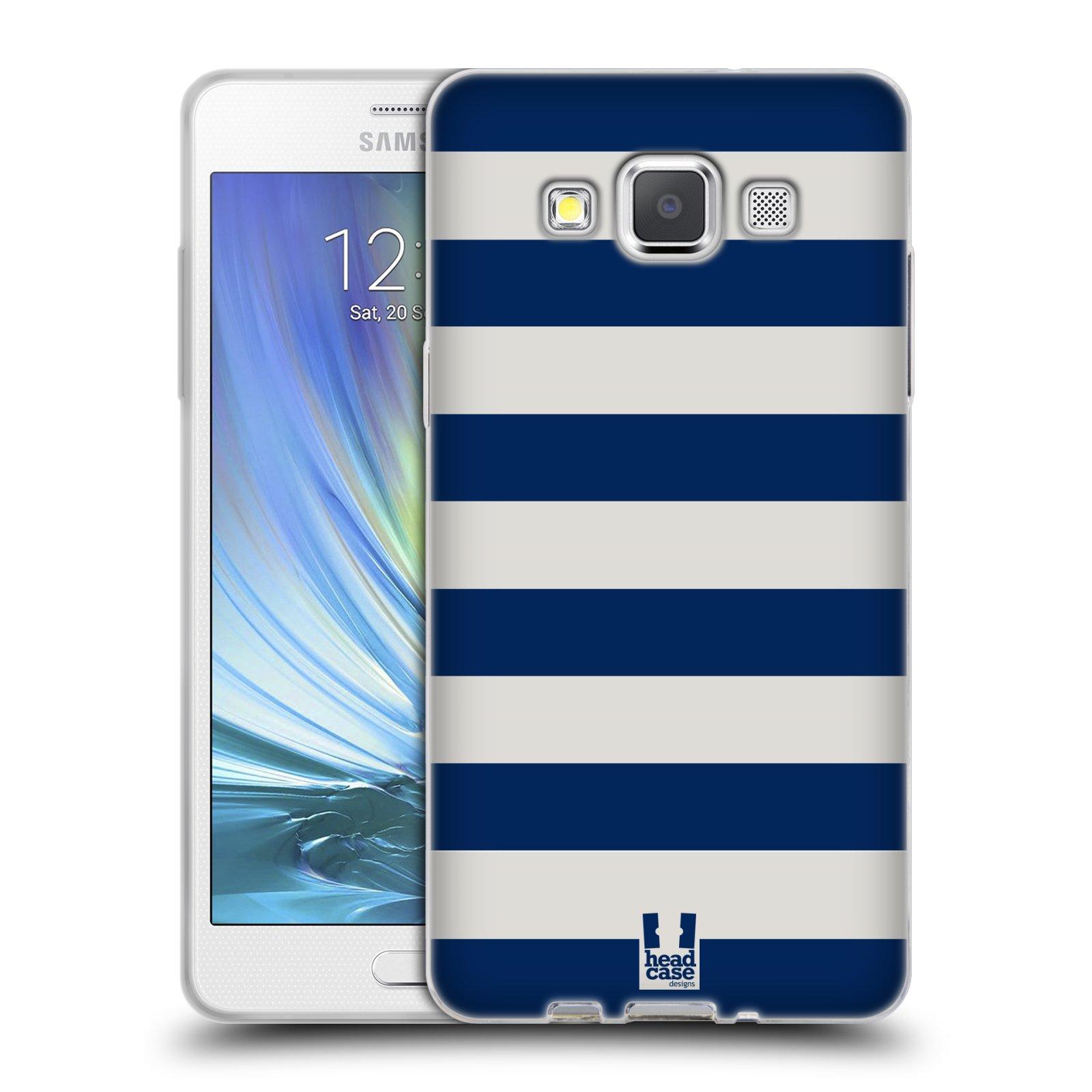 HEAD CASE silikonový obal na mobil Samsung Galaxy A5 vzor Barevné proužky MODRÁ A BÍLÁ NÁMOŘNÍK