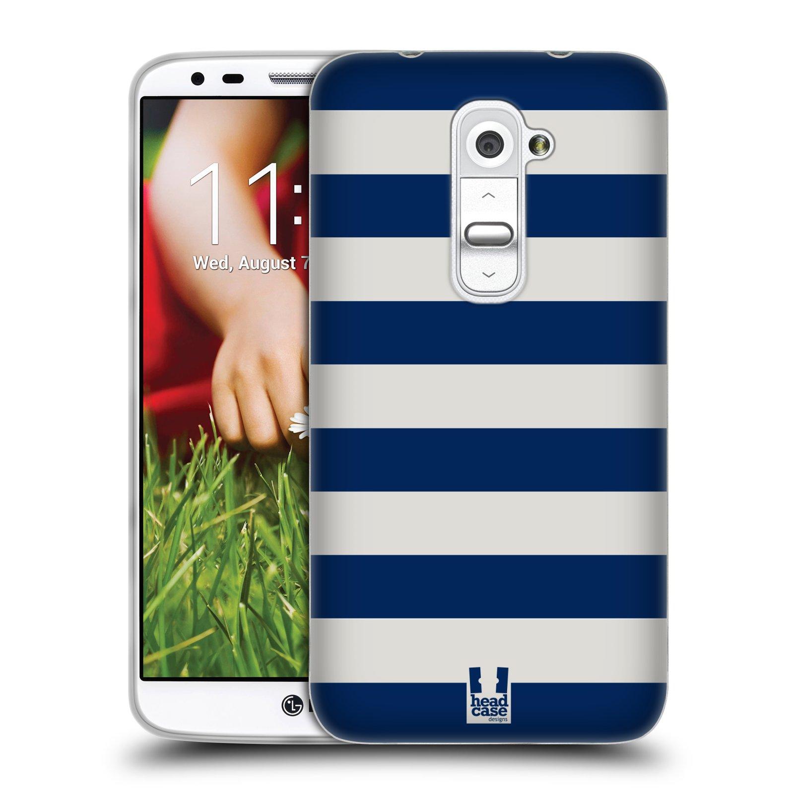 HEAD CASE silikonový obal na mobil LG G2 vzor Barevné proužky MODRÁ A BÍLÁ NÁMOŘNÍK