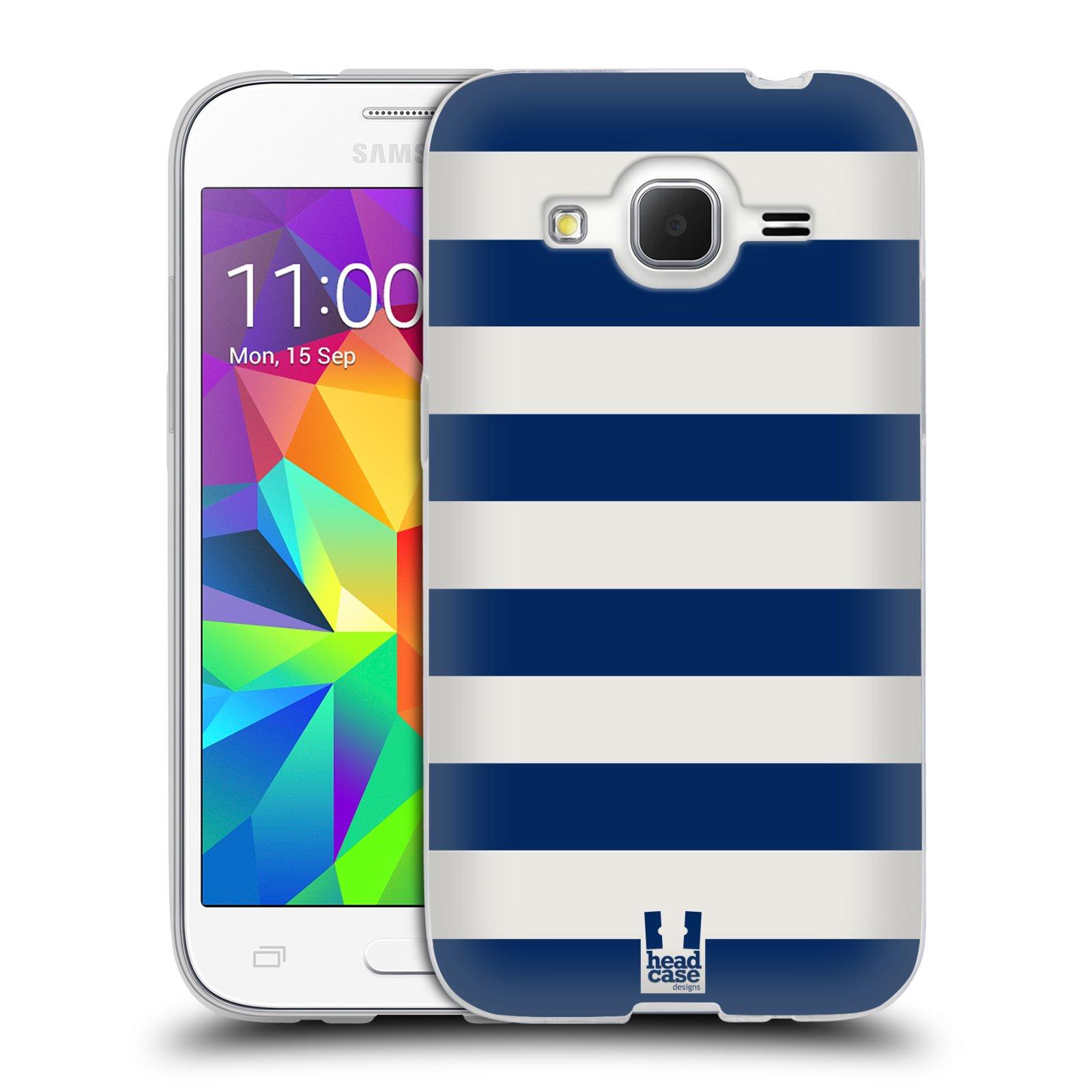 HEAD CASE silikonový obal na mobil Samsung Galaxy Core Prime (G360) vzor Barevné proužky MODRÁ A BÍLÁ NÁMOŘNÍK