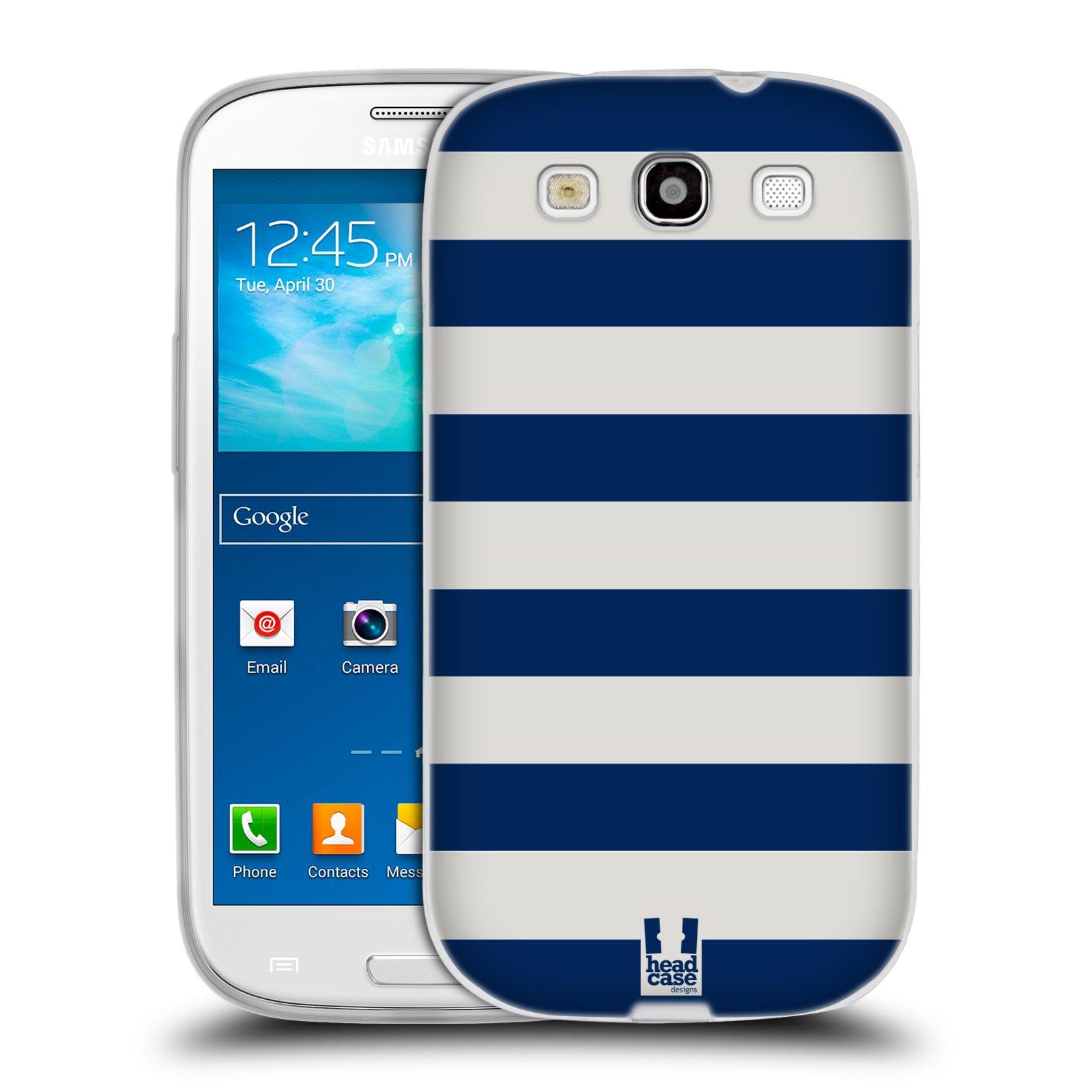 HEAD CASE silikonový obal na mobil Samsung Galaxy S3 i9300 vzor Barevné proužky MODRÁ A BÍLÁ NÁMOŘNÍK