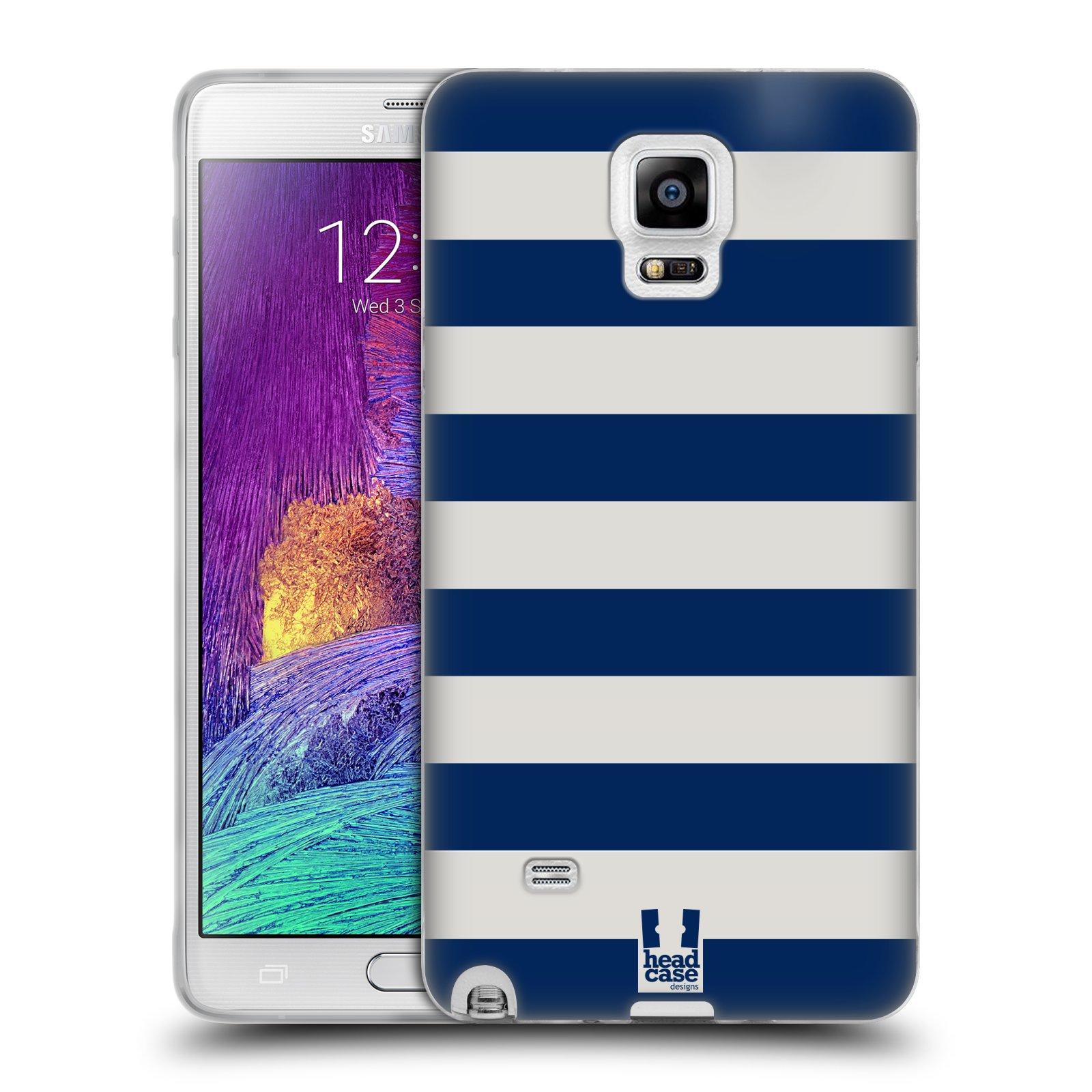 HEAD CASE silikonový obal na mobil Samsung Galaxy Note 4 (N910) vzor Barevné proužky MODRÁ A BÍLÁ NÁMOŘNÍK