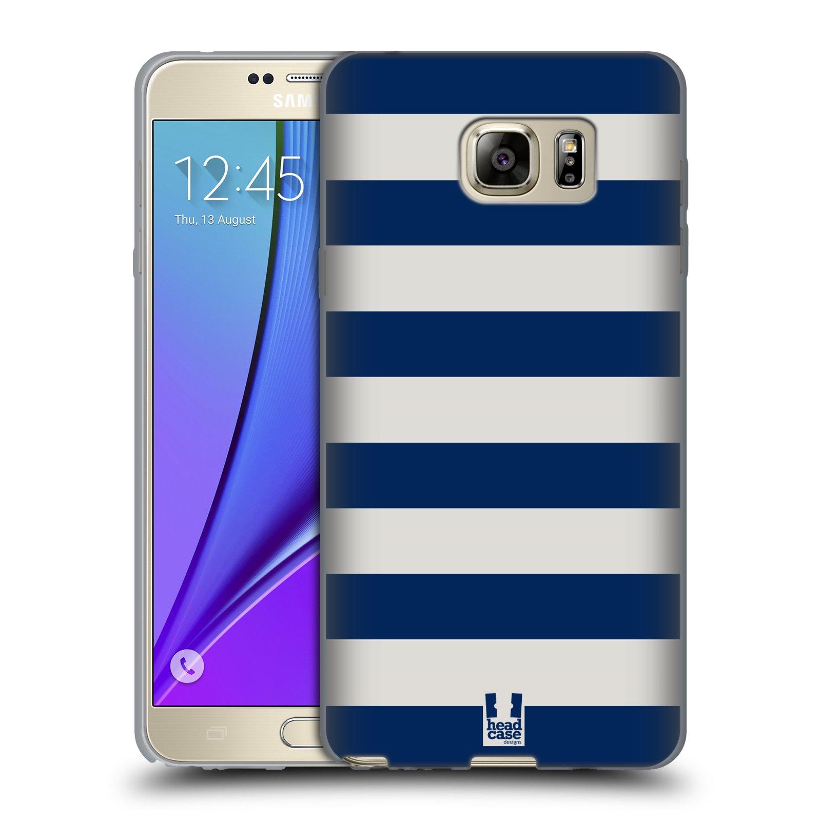 HEAD CASE silikonový obal na mobil Samsung Galaxy Note 5 (N920) vzor Barevné proužky MODRÁ A BÍLÁ NÁMOŘNÍK