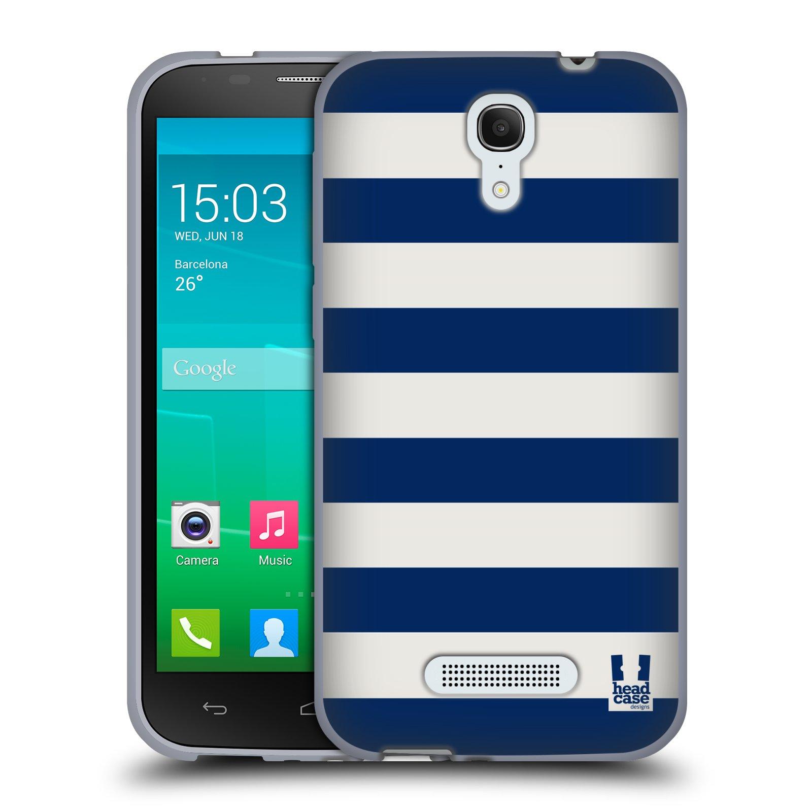 HEAD CASE silikonový obal na mobil Alcatel POP S7 vzor Barevné proužky MODRÁ A BÍLÁ NÁMOŘNÍK