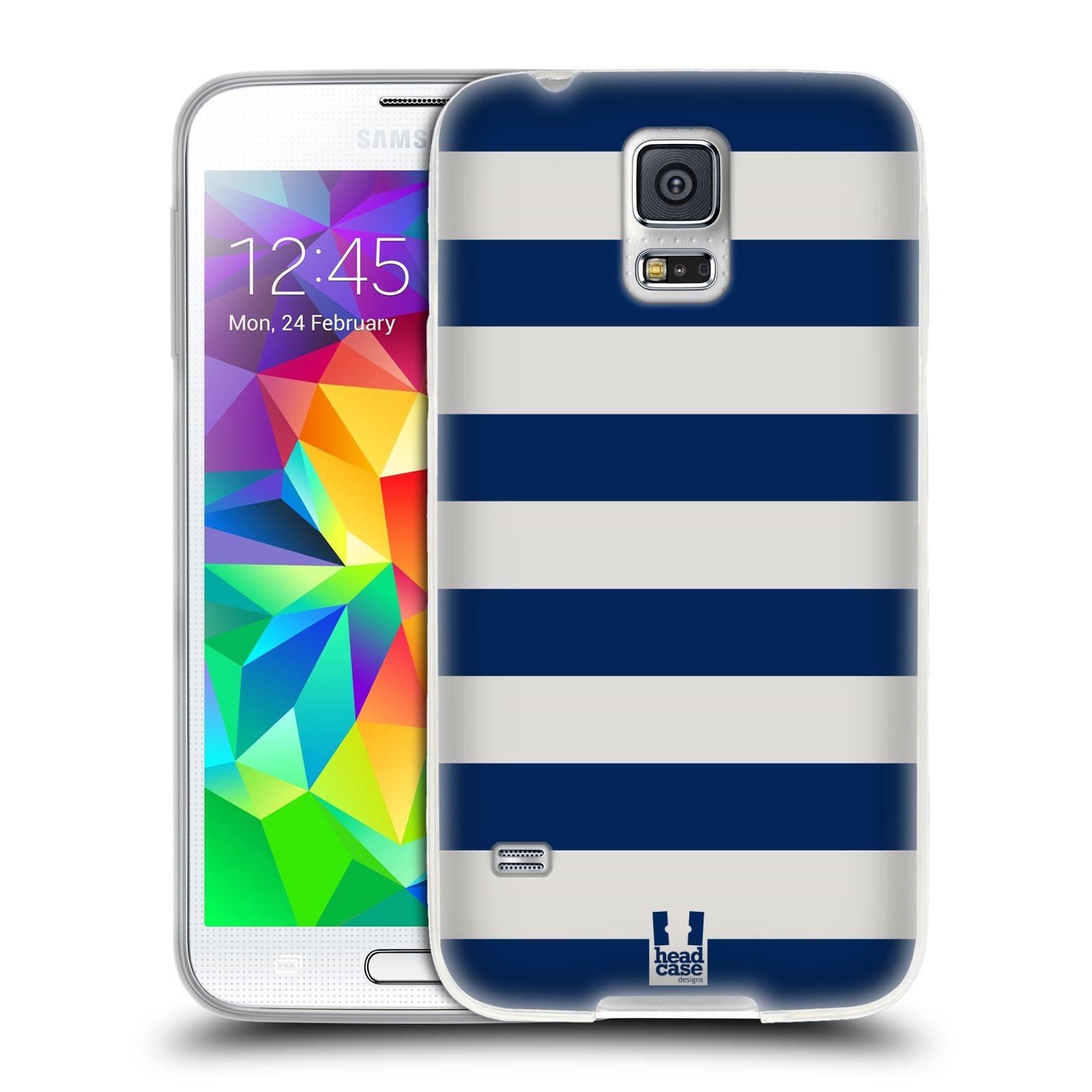 HEAD CASE silikonový obal na mobil Samsung Galaxy S5/S5 NEO vzor Barevné proužky MODRÁ A BÍLÁ NÁMOŘNÍK