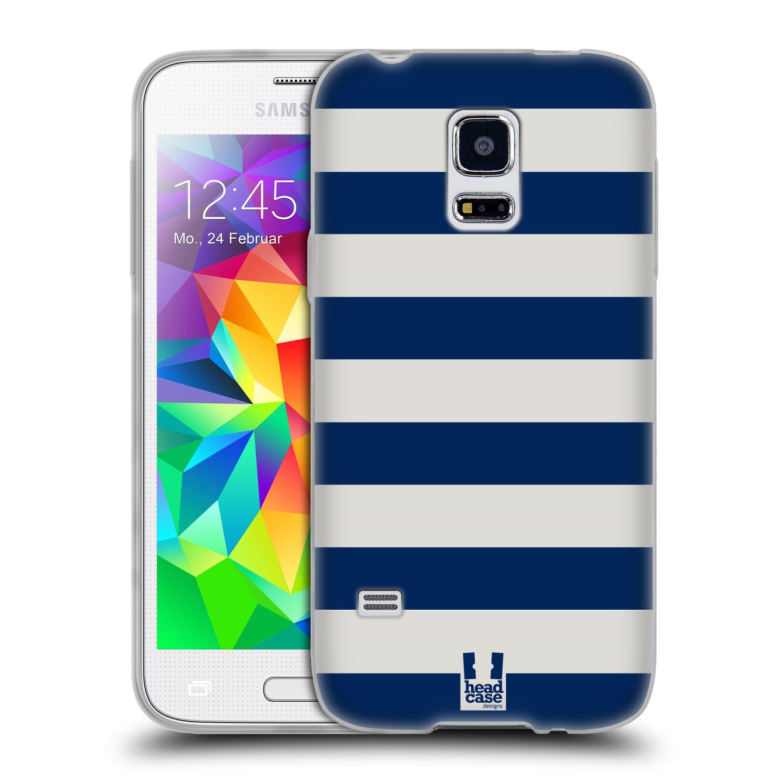 HEAD CASE silikonový obal na mobil Samsung Galaxy S5 MINI vzor Barevné proužky MODRÁ A BÍLÁ NÁMOŘNÍK