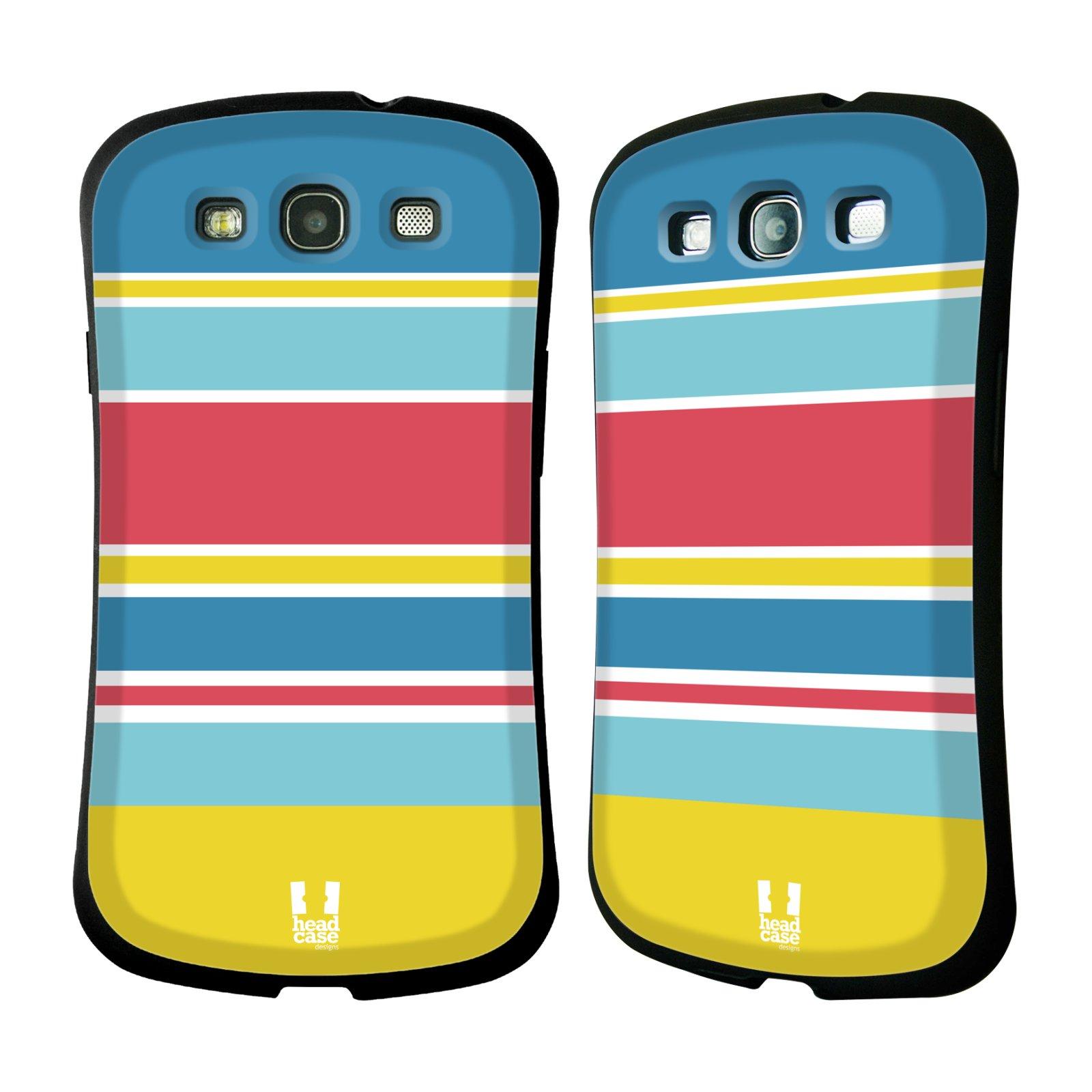HEAD CASE silikon/plast odolný obal na mobil Samsung Galaxy S3 vzor Barevné proužky MODRÁ, ŽLUTÁ, RŮŽOVÁ