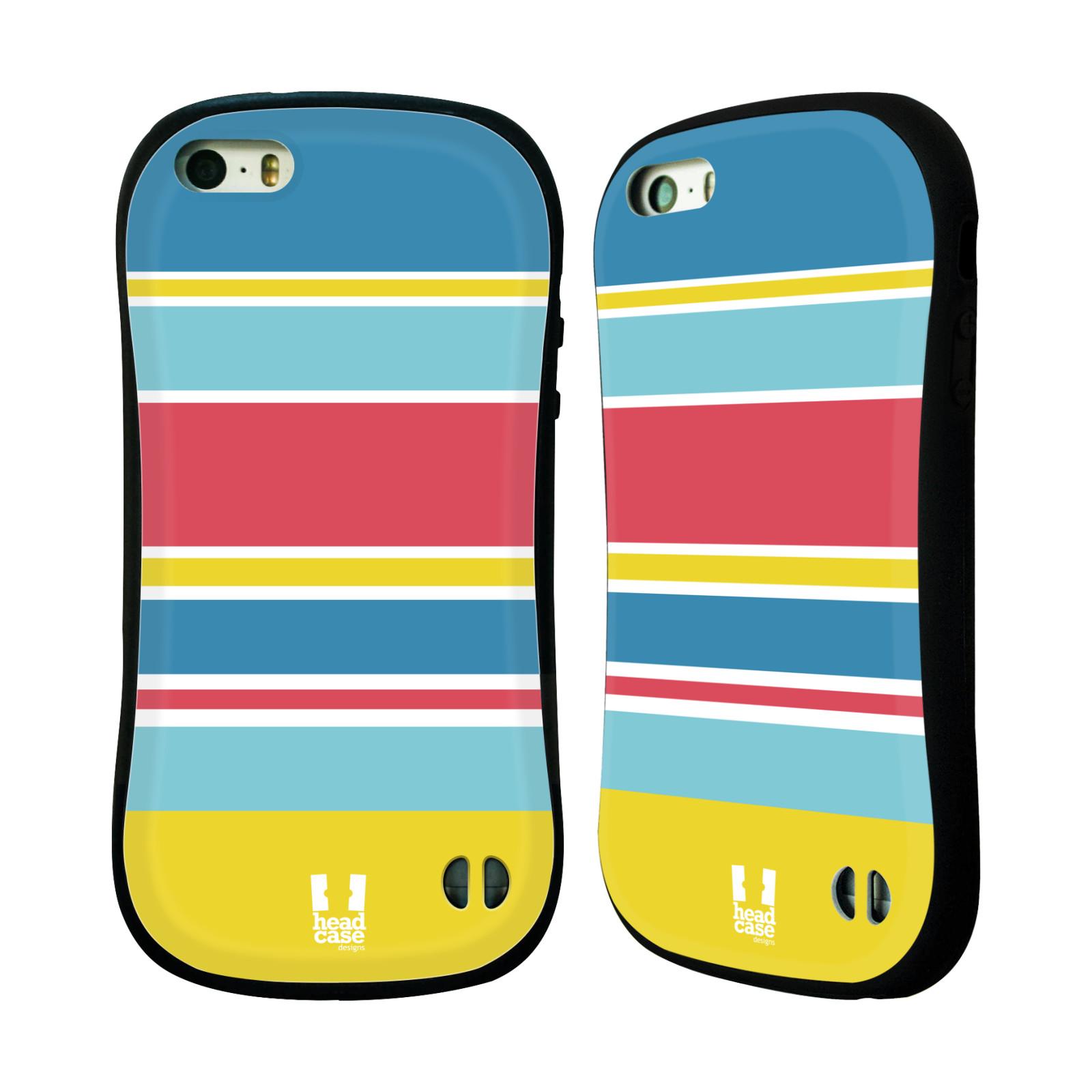 HEAD CASE silikon/plast odolný obal na mobil Apple Iphone 5/5S vzor Barevné proužky MODRÁ, ŽLUTÁ, RŮŽOVÁ