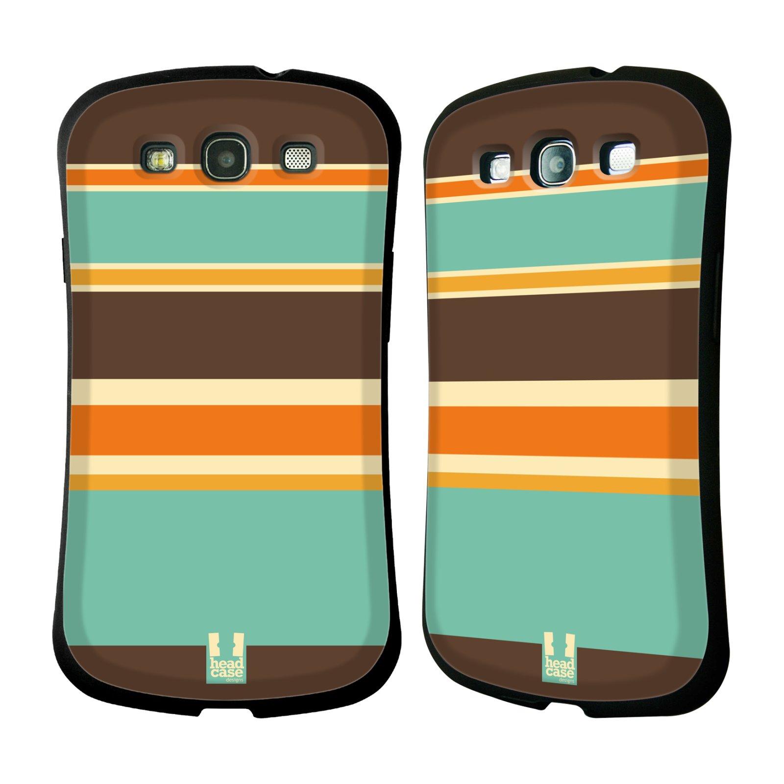 HEAD CASE silikon/plast odolný obal na mobil Samsung Galaxy S3 vzor Barevné proužky ORANŽOVÁ A HNĚDÁ