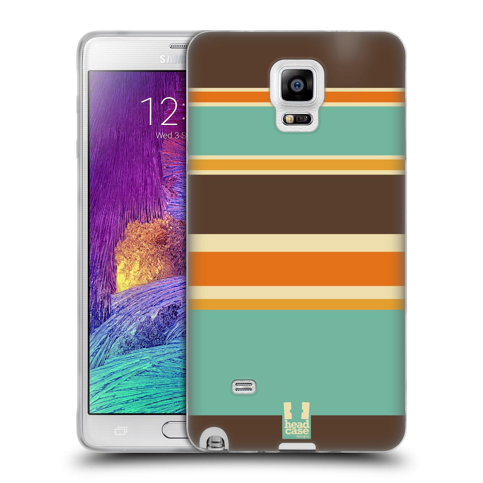 HEAD CASE silikonový obal na mobil Samsung Galaxy Note 4 (N910) vzor Barevné proužky ORANŽOVÁ A HNĚDÁ