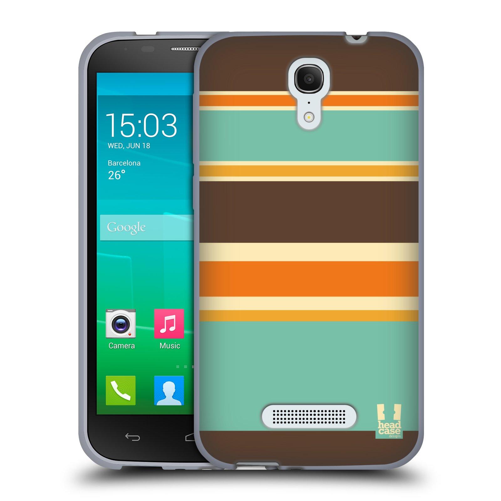 HEAD CASE silikonový obal na mobil Alcatel POP S7 vzor Barevné proužky ORANŽOVÁ A HNĚDÁ
