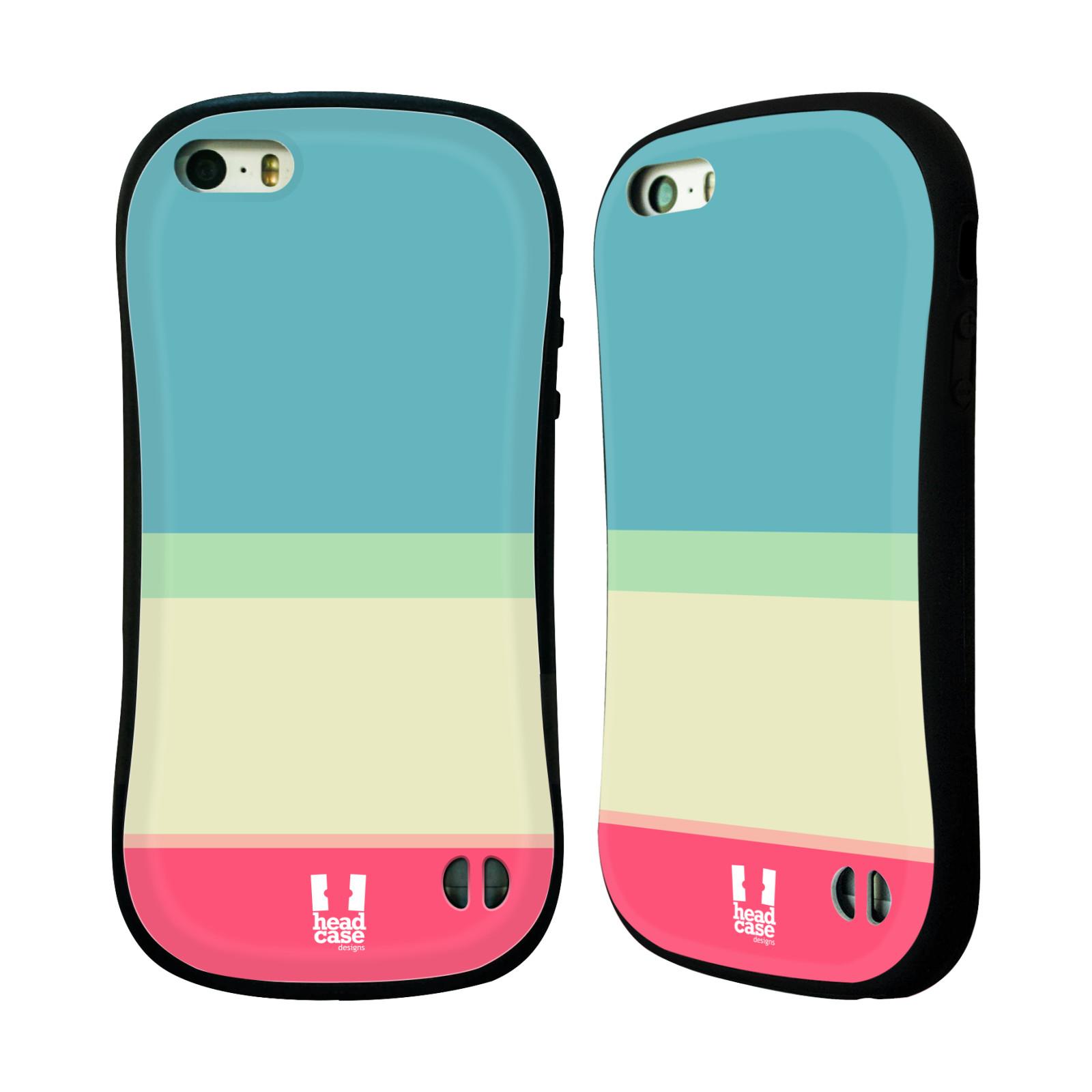 HEAD CASE silikon/plast odolný obal na mobil Apple Iphone 5/5S vzor Barevné proužky MODRÁ A RŮŽOVÁ