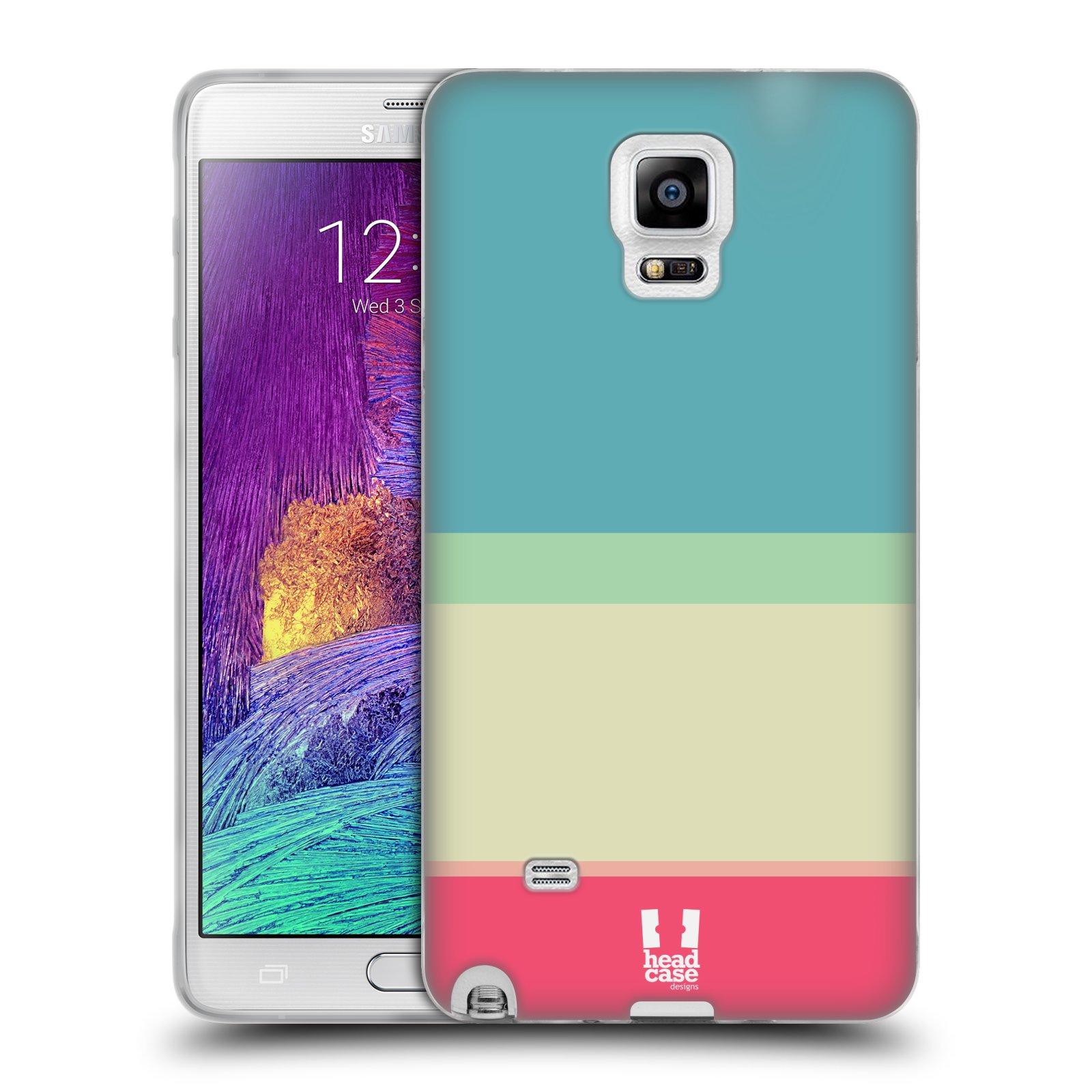 HEAD CASE silikonový obal na mobil Samsung Galaxy Note 4 (N910) vzor Barevné proužky MODRÁ A RŮŽOVÁ