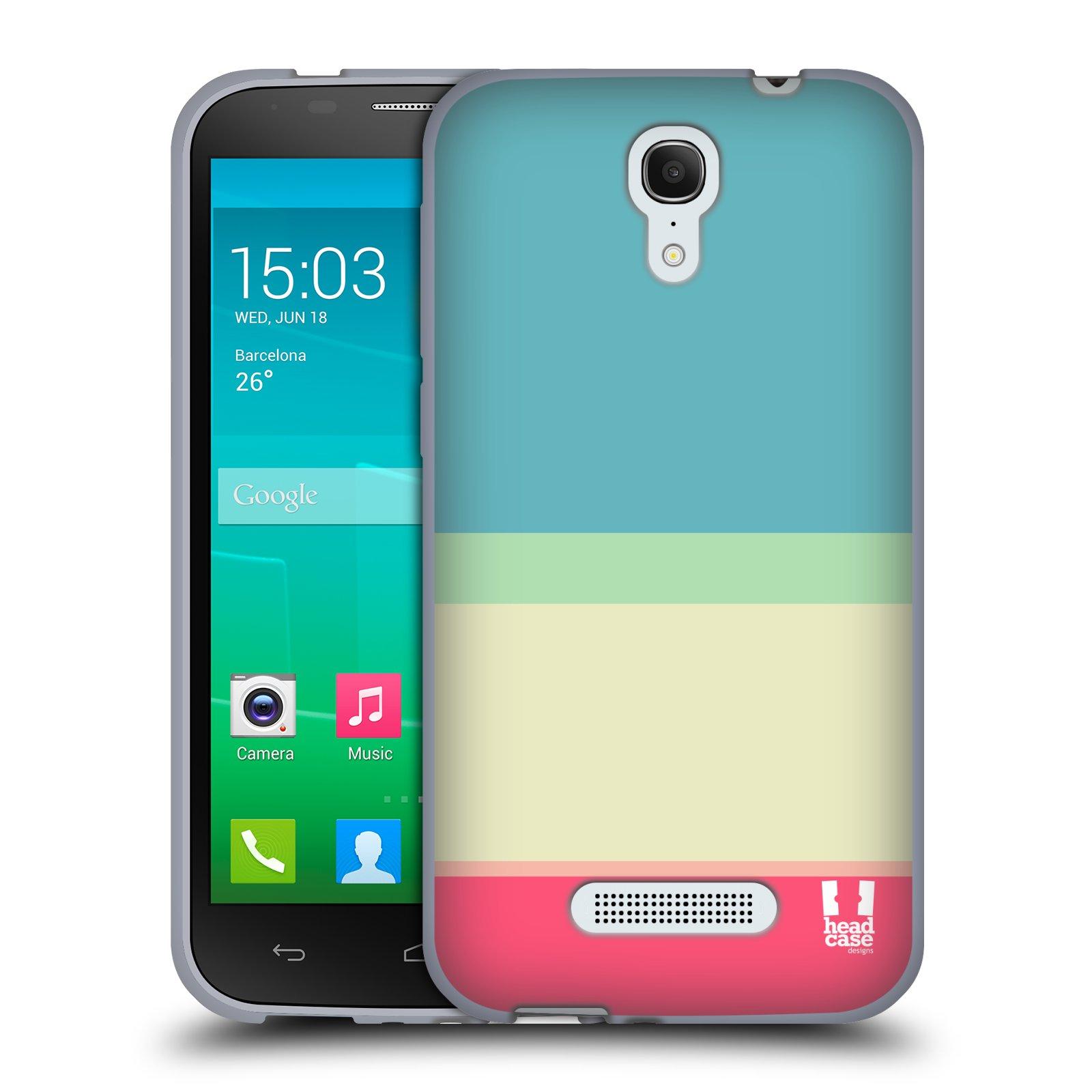 HEAD CASE silikonový obal na mobil Alcatel POP S7 vzor Barevné proužky MODRÁ A RŮŽOVÁ