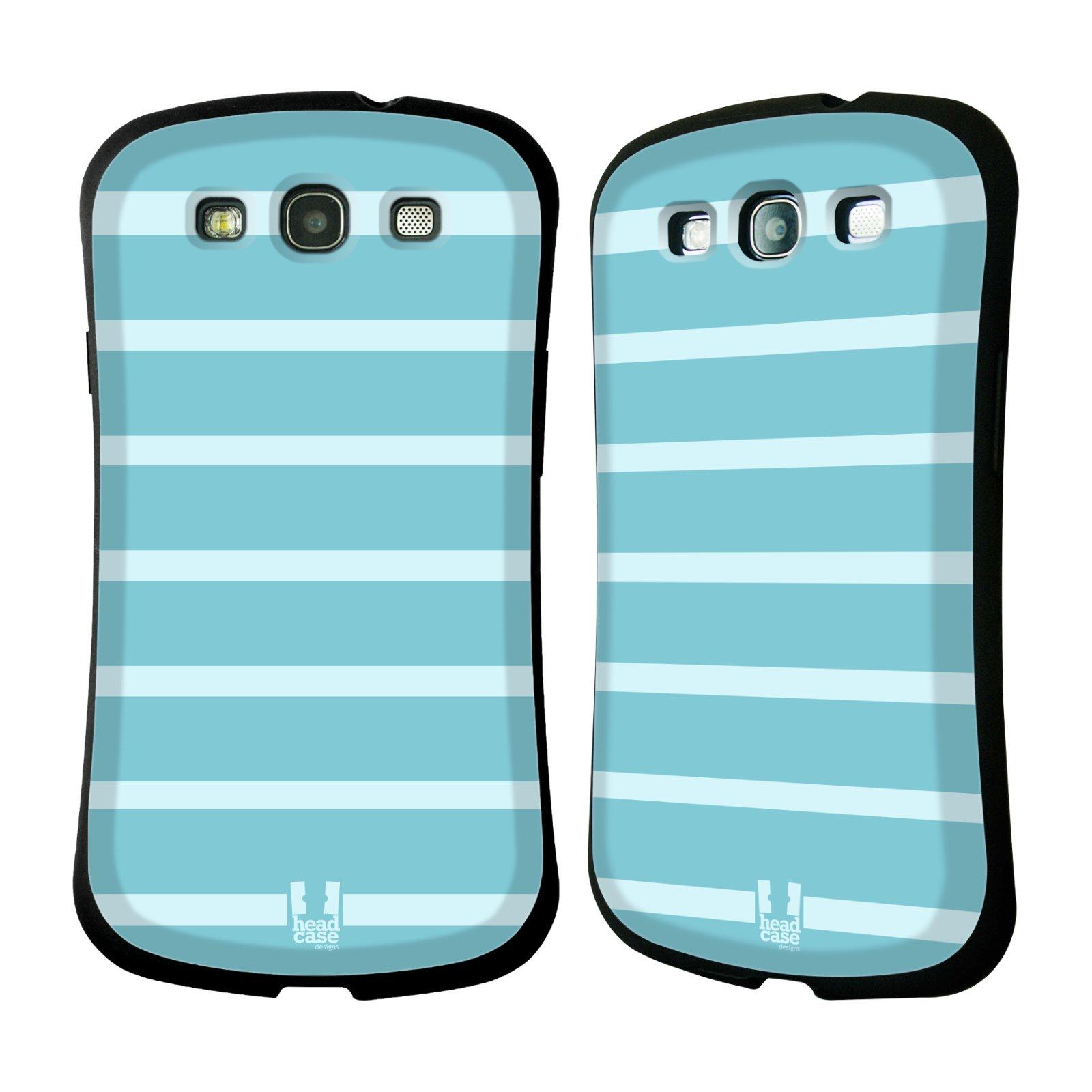 HEAD CASE silikon/plast odolný obal na mobil Samsung Galaxy S3 vzor Barevné proužky MODRÁ A BÍLÁ