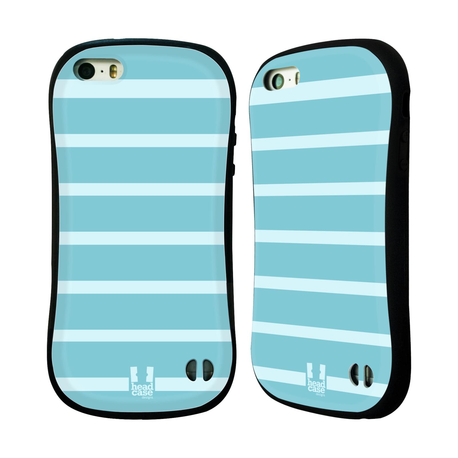 HEAD CASE silikon/plast odolný obal na mobil Apple Iphone 5/5S vzor Barevné proužky MODRÁ A BÍLÁ