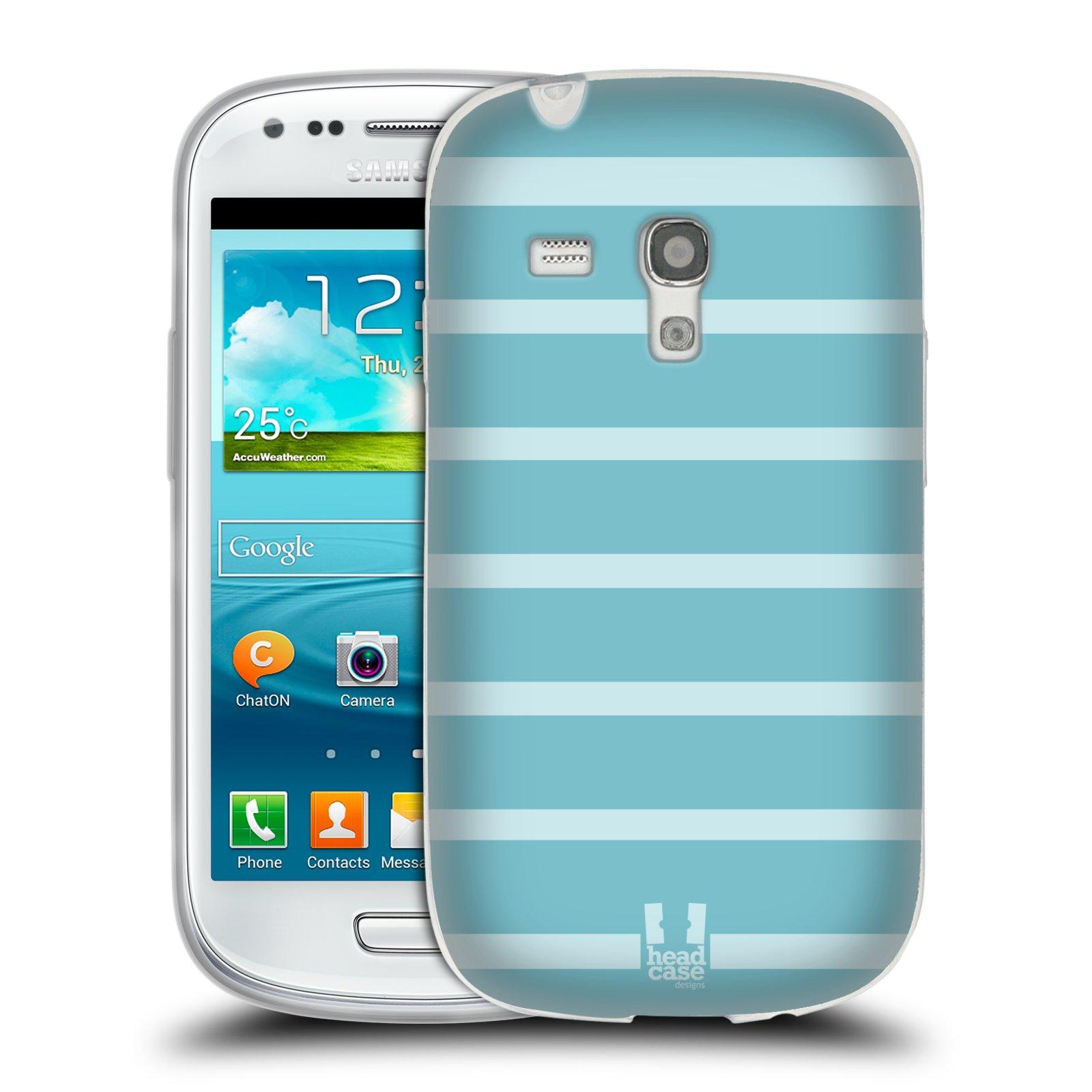 HEAD CASE silikonový obal na mobil Samsung Galaxy S3 MINI i8190 vzor Barevné proužky MODRÁ A BÍLÁ