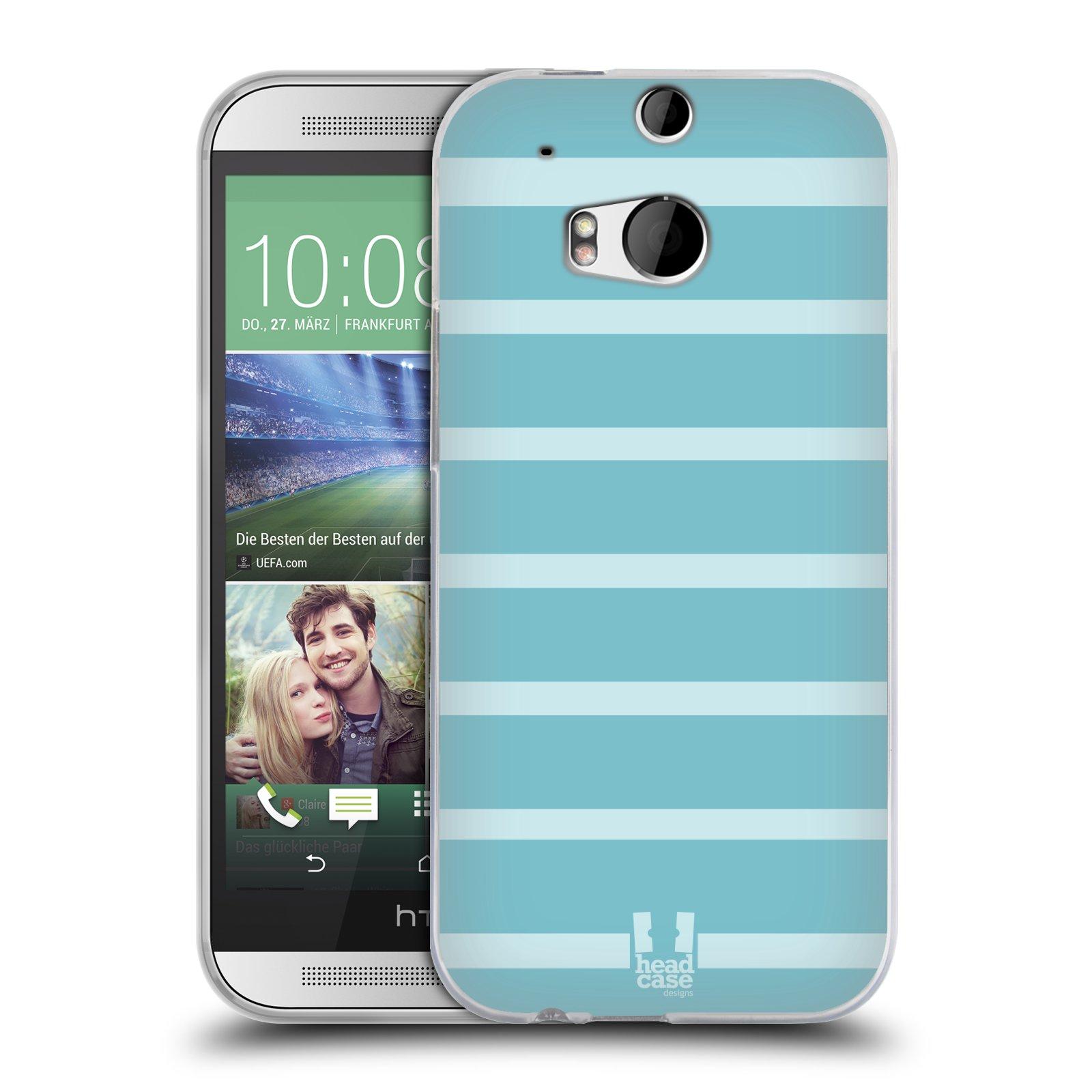 HEAD CASE silikonový obal na mobil HTC ONE (M8) vzor Barevné proužky MODRÁ A BÍLÁ