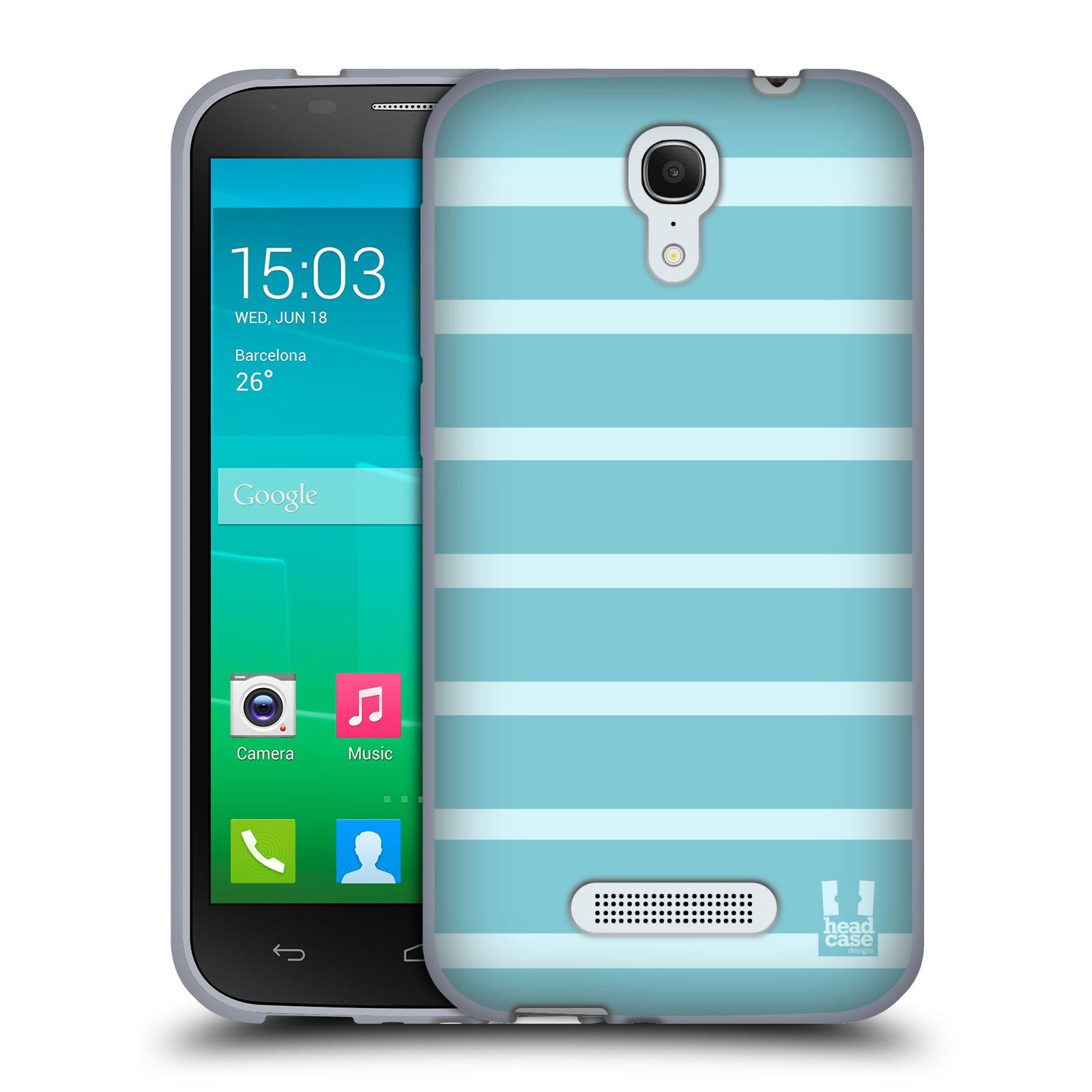 HEAD CASE silikonový obal na mobil Alcatel POP S7 vzor Barevné proužky MODRÁ A BÍLÁ